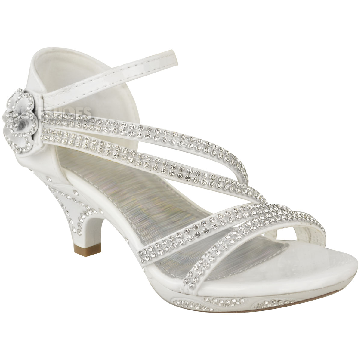 New Girls Kids Low Heel Wedding Diamante Sandals Bridesmaid Party ...