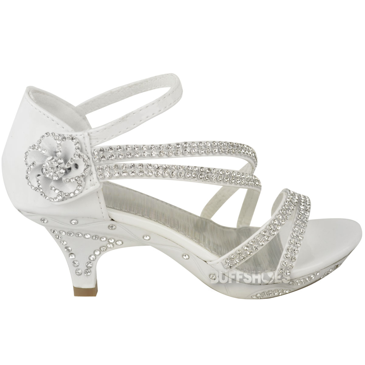 New Girls Kids Low Heel Wedding Diamante Sandals