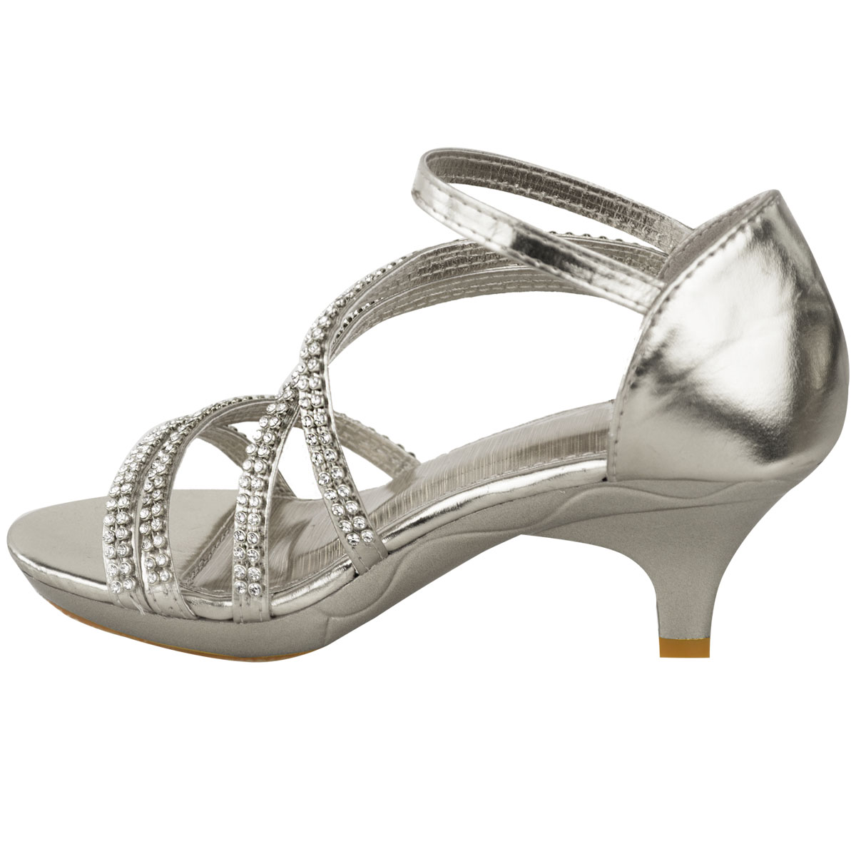 Details about Girls Kids Childrens Low Heel Party Wedding Mary Jane Sparkly Sandals Shoes Size