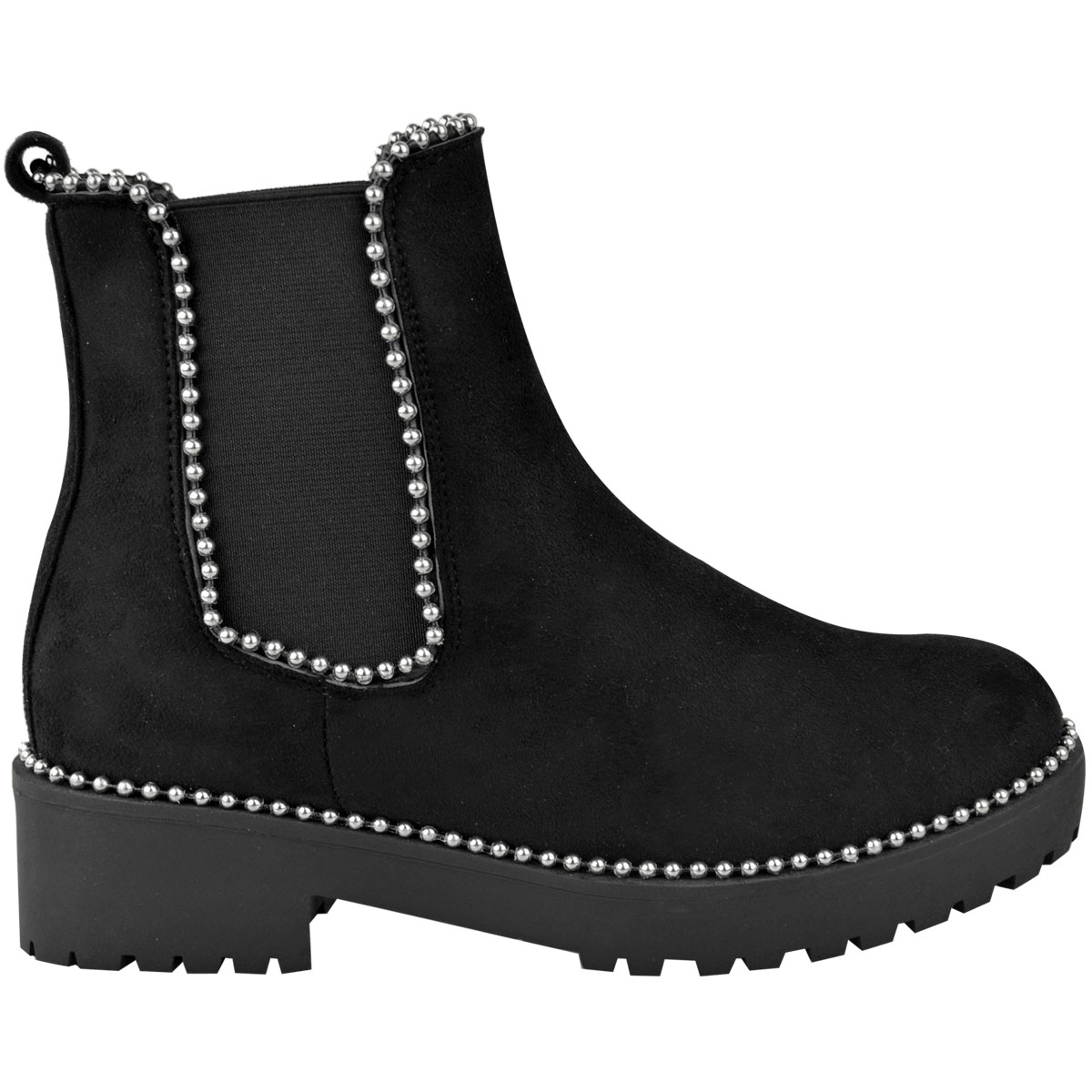 thumbnail 16 - Womens Ankle Chelsea Boots Beaded Studded Elastic Stretch Winter Shoes Size New