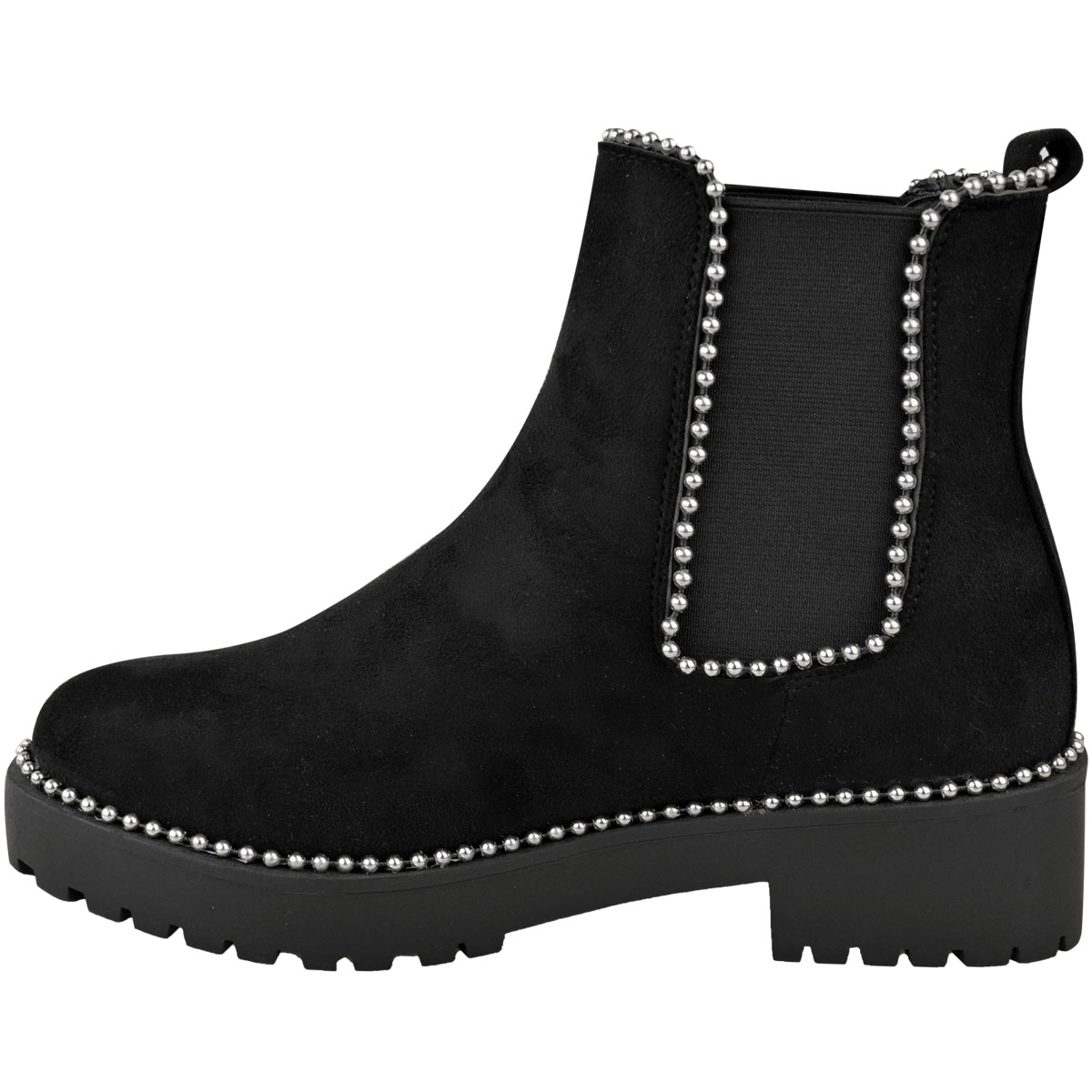 thumbnail 17 - Womens Ankle Chelsea Boots Beaded Studded Elastic Stretch Winter Shoes Size New