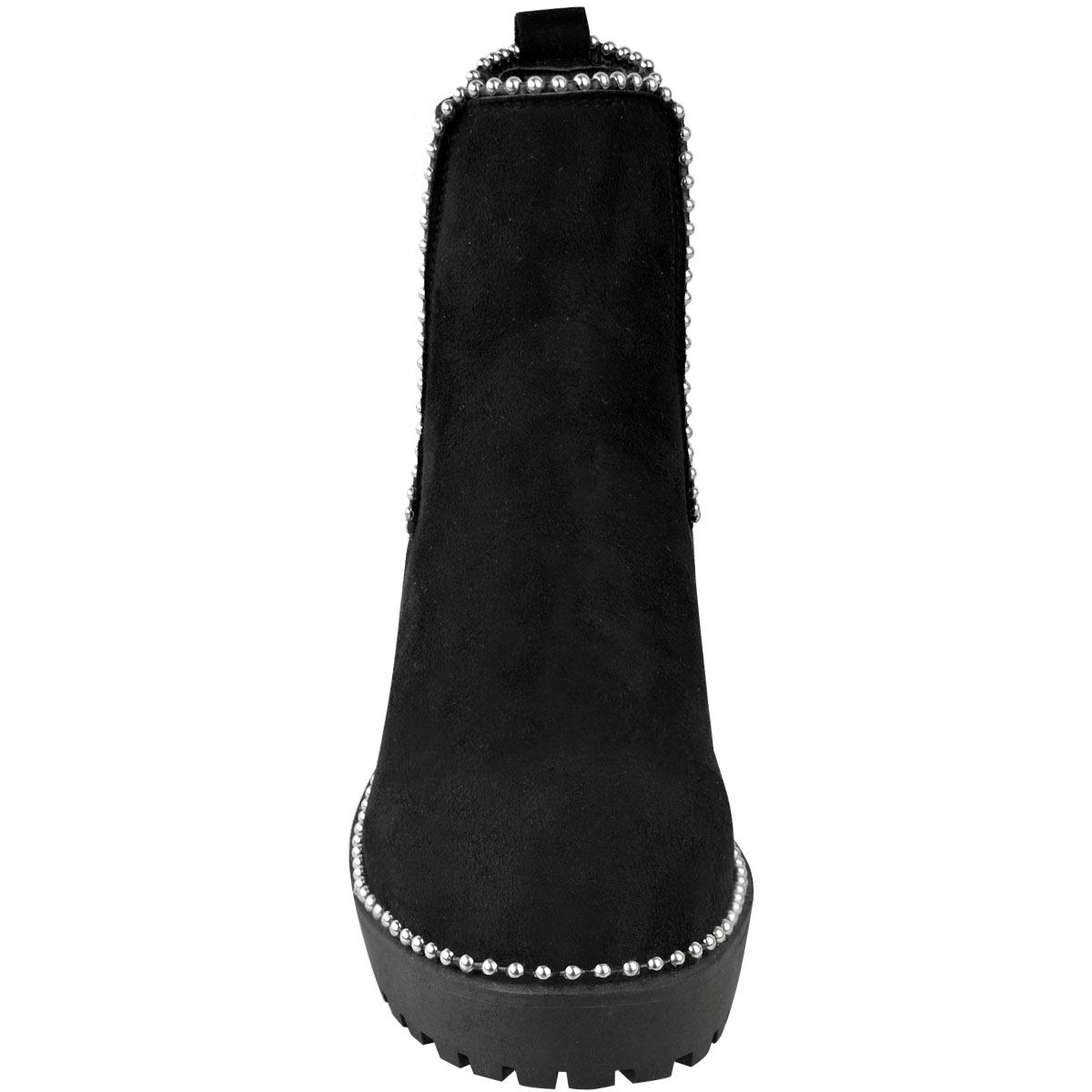 thumbnail 18 - Womens Ankle Chelsea Boots Beaded Studded Elastic Stretch Winter Shoes Size New