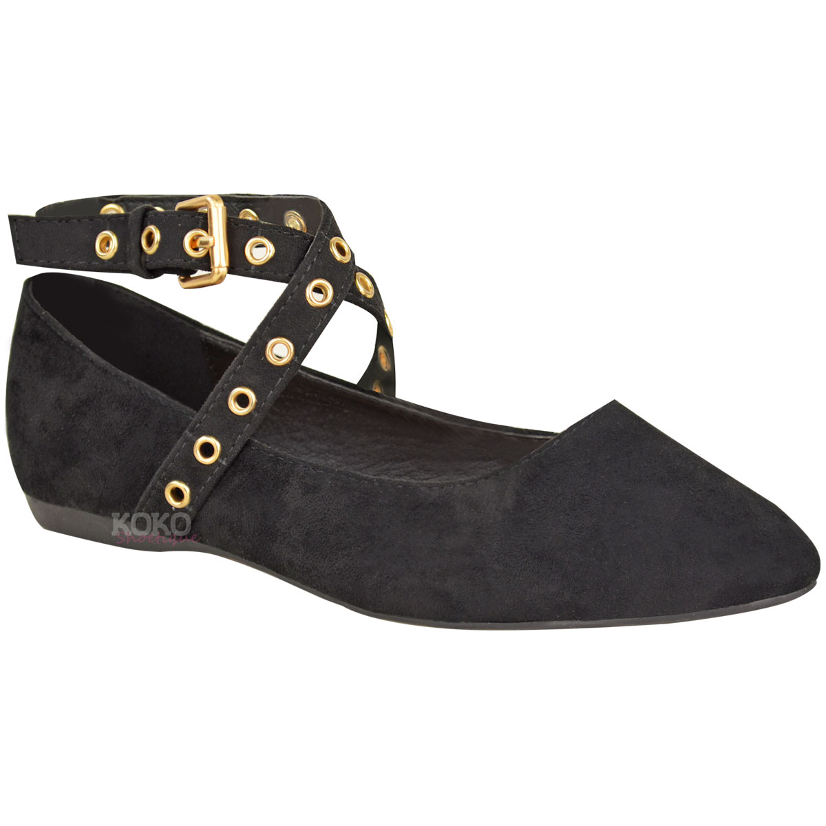 Womens Girls Flat Pumps School Shoes Studded Strappy ...