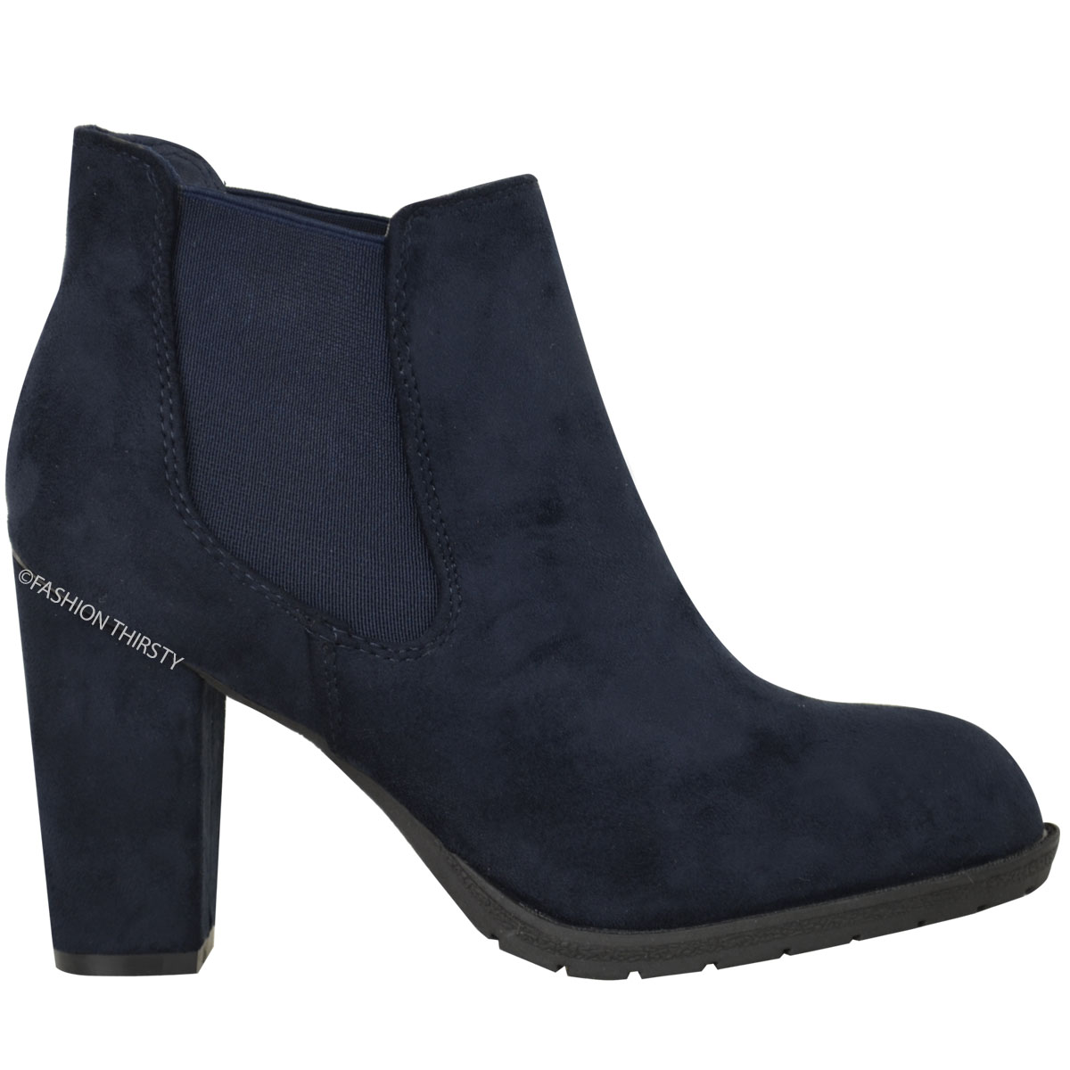 new womens chelsea ankle boots low mid block heel