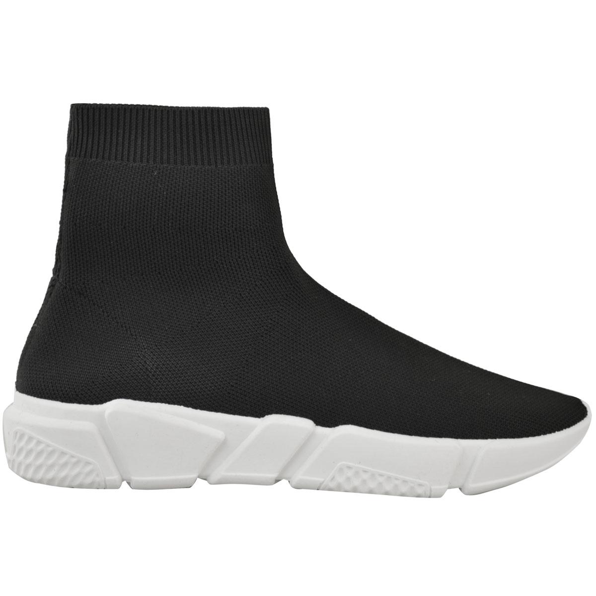 Ladies Uk ginnastica da Scarpe White Chunky Womens Knit Black Stretch Runners Sneakers Taglia Speed Sock SHdPqw