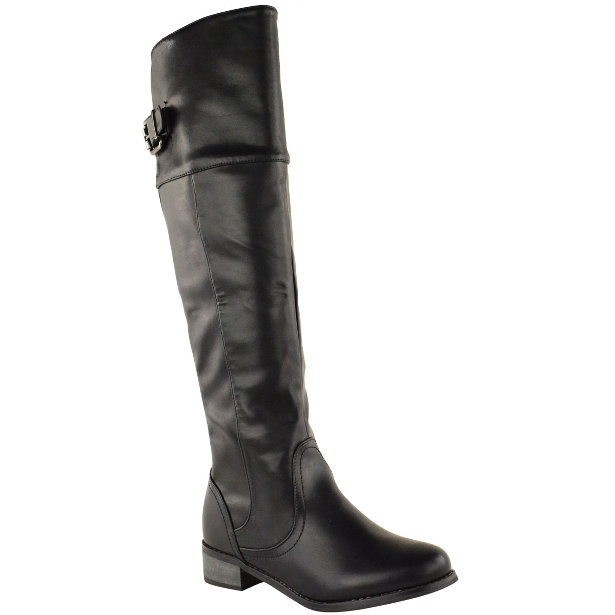 womens flat knee high stretch wide boots leg