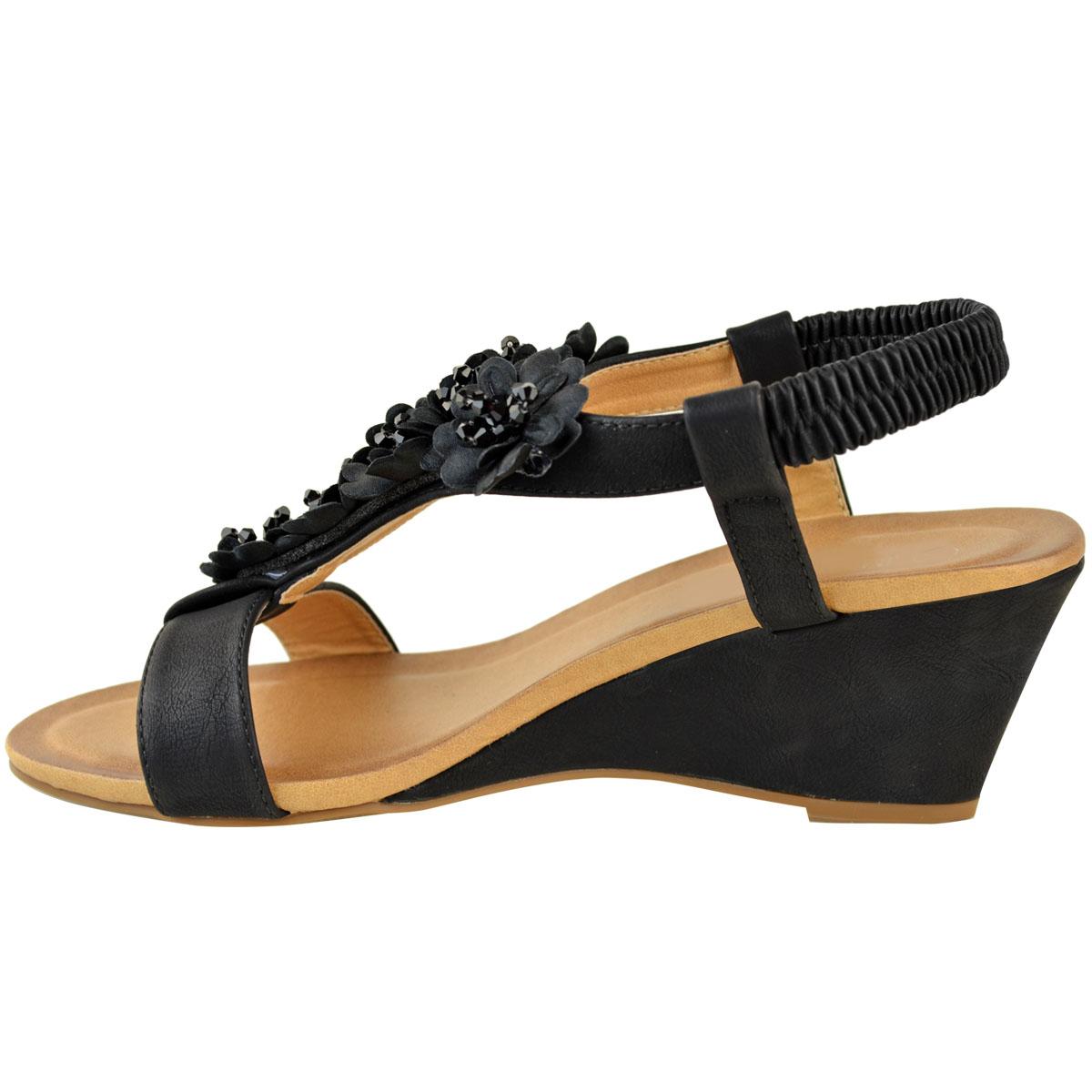 Womens Ladies Low Wedge Heel Sandals Stretch Wedding Shoes
