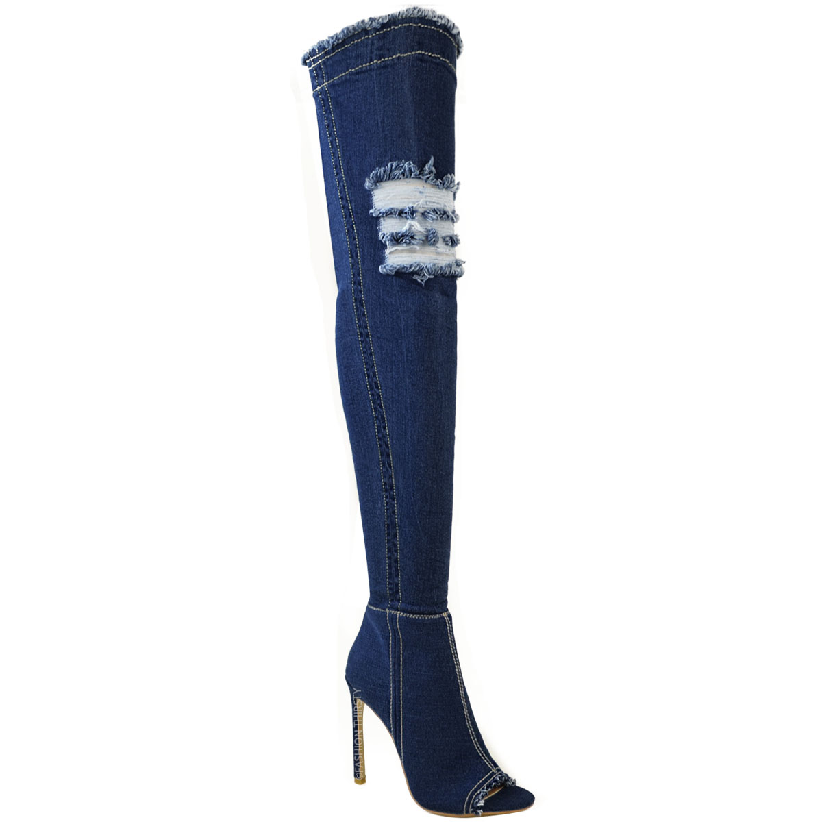 Womens Over The Knee Boots Thigh High Heels Stilettos Stretch Denim Size