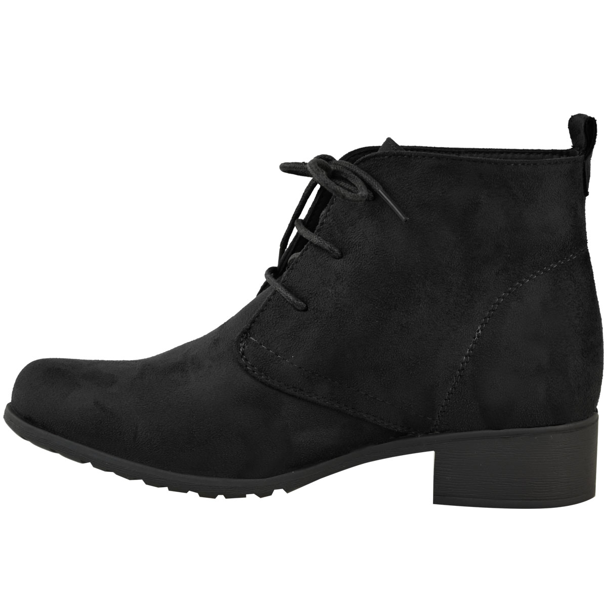 womens ladies flat low heel black ankle boots work office