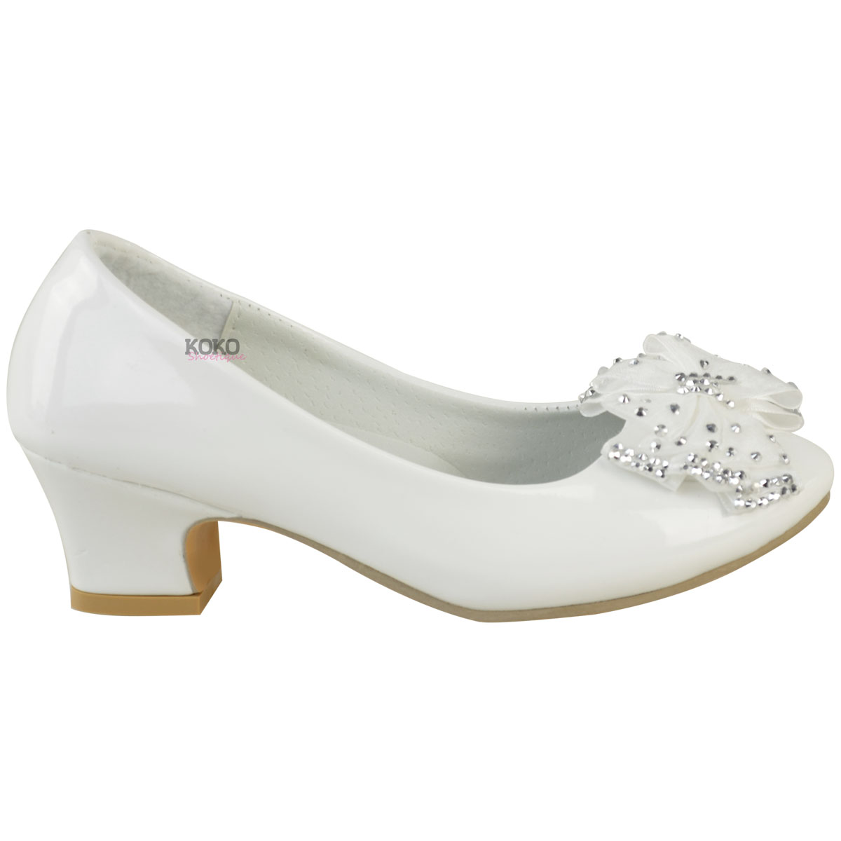 Girls Childrens Kids Low Heel Diamante Bow Wedding Flower Party