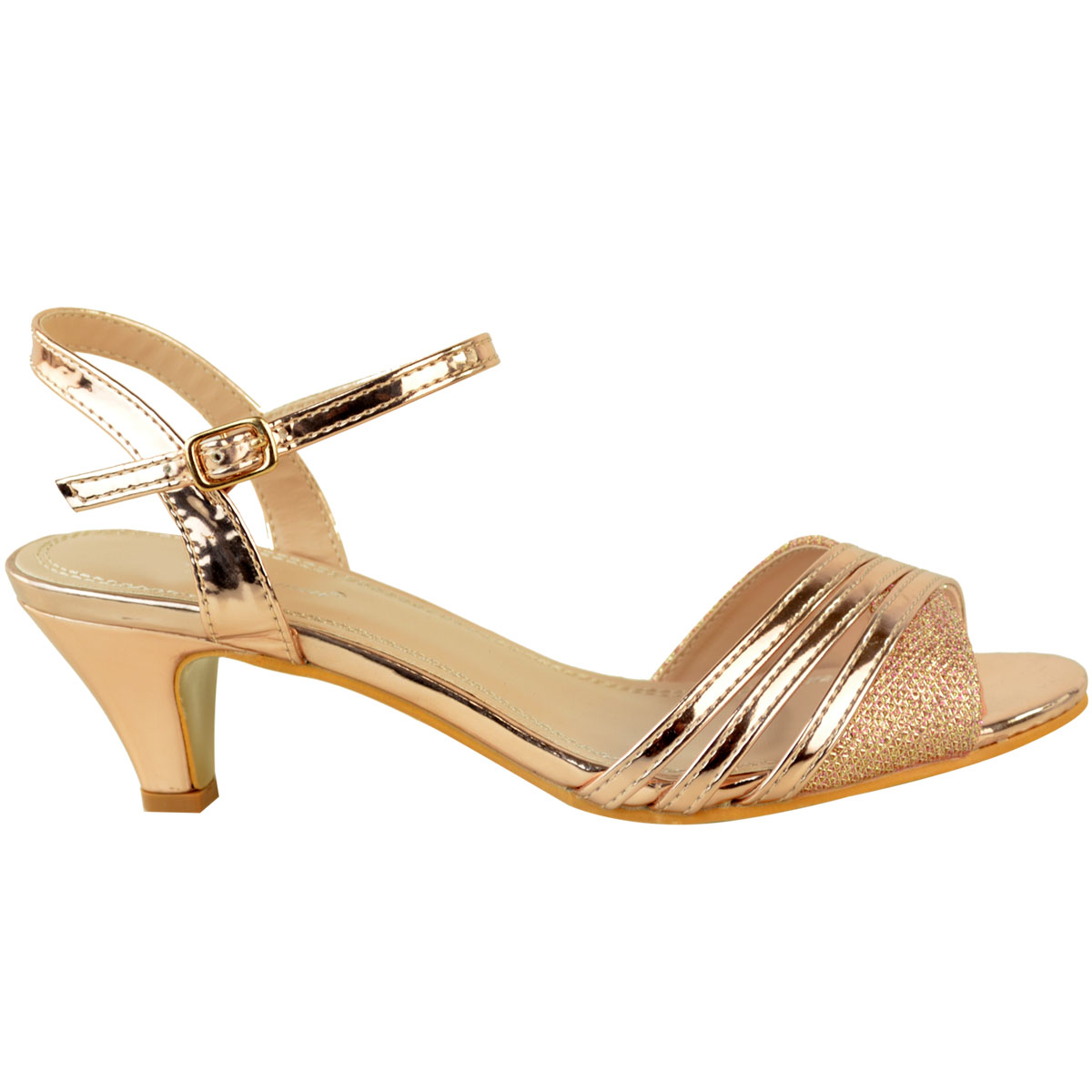 Womens Ladies Low Heel Party Sandals Strappy Wedding