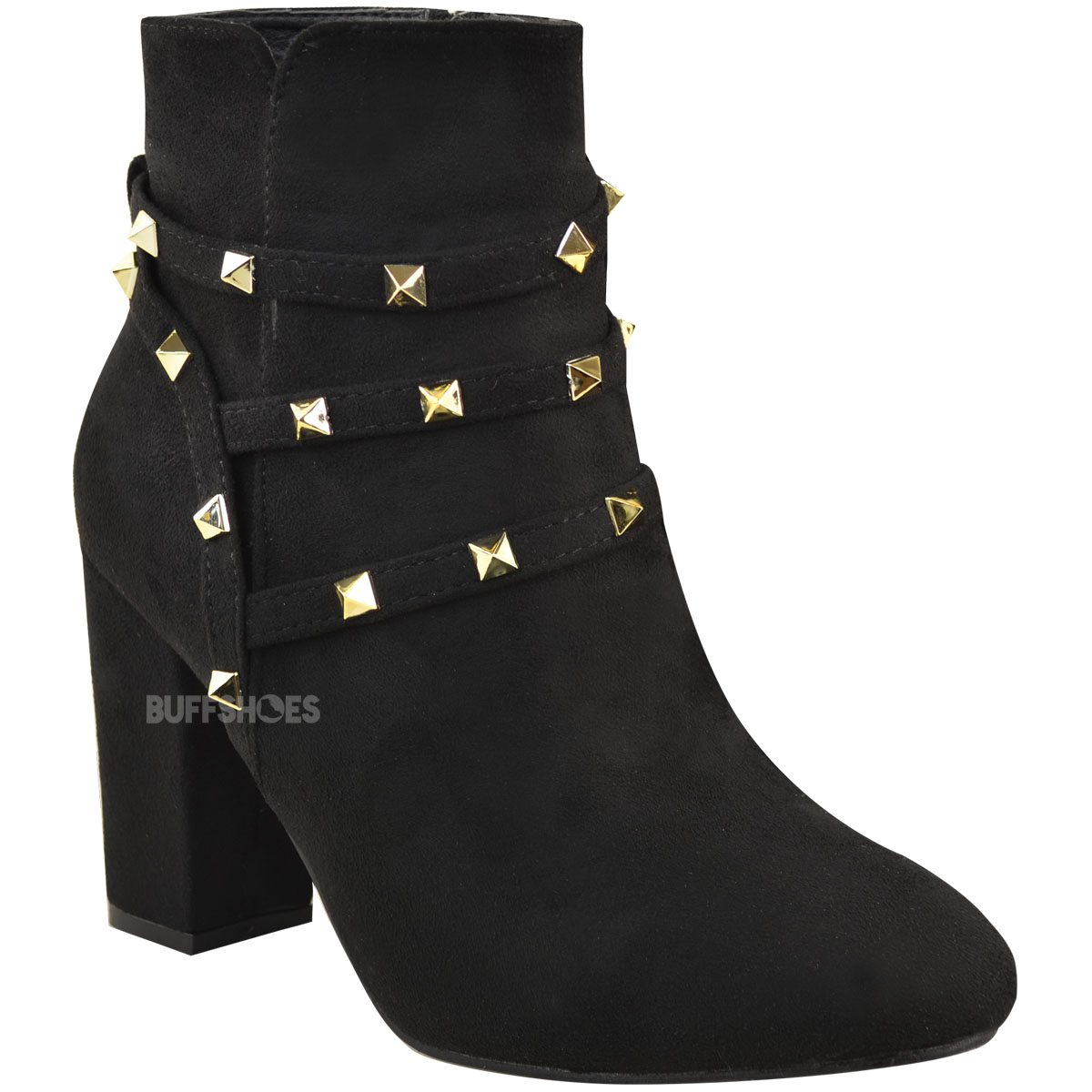Womens Studded Block Mid Heel Winter Ankle Boots Size