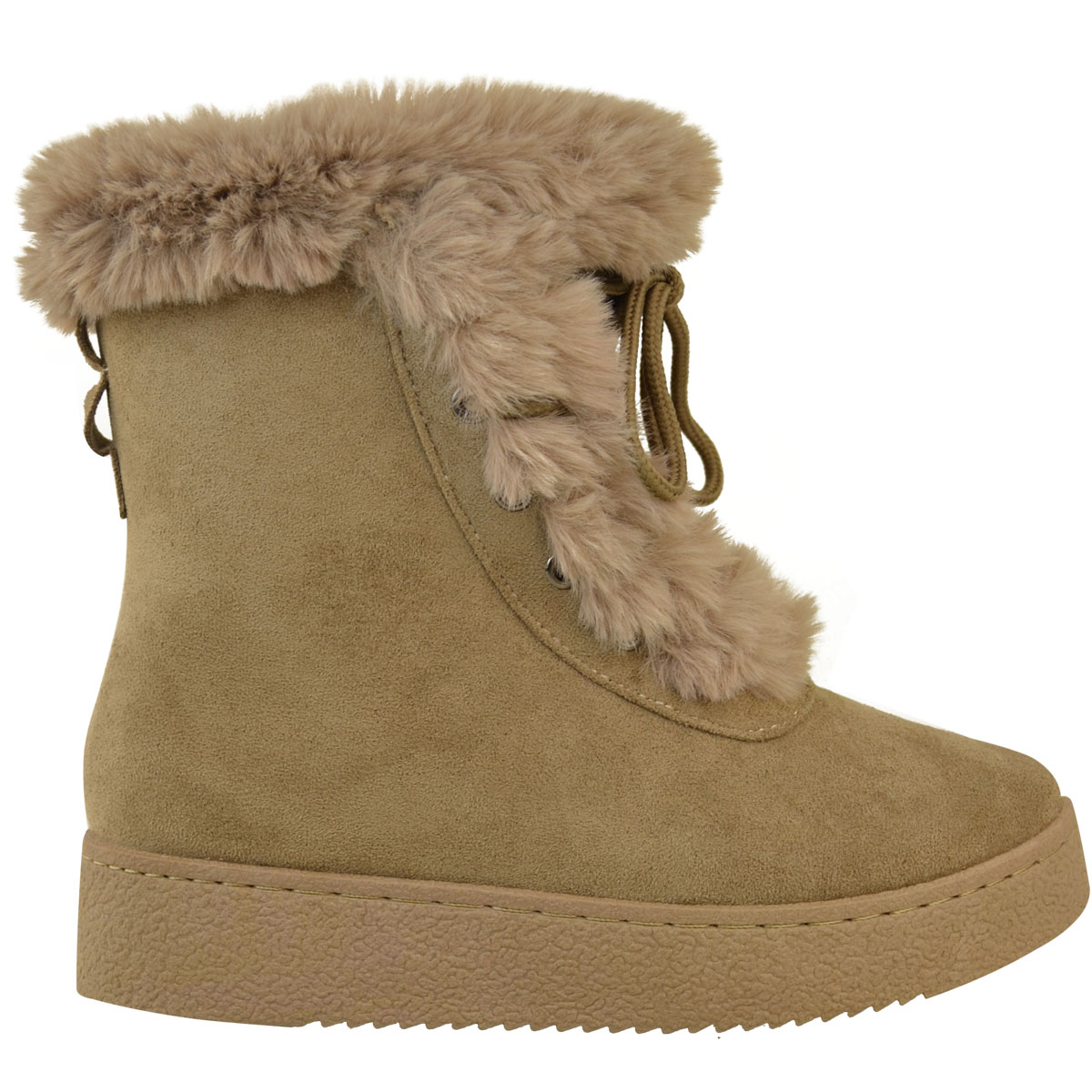 womens flat faux fur winter ankle boots casual snow