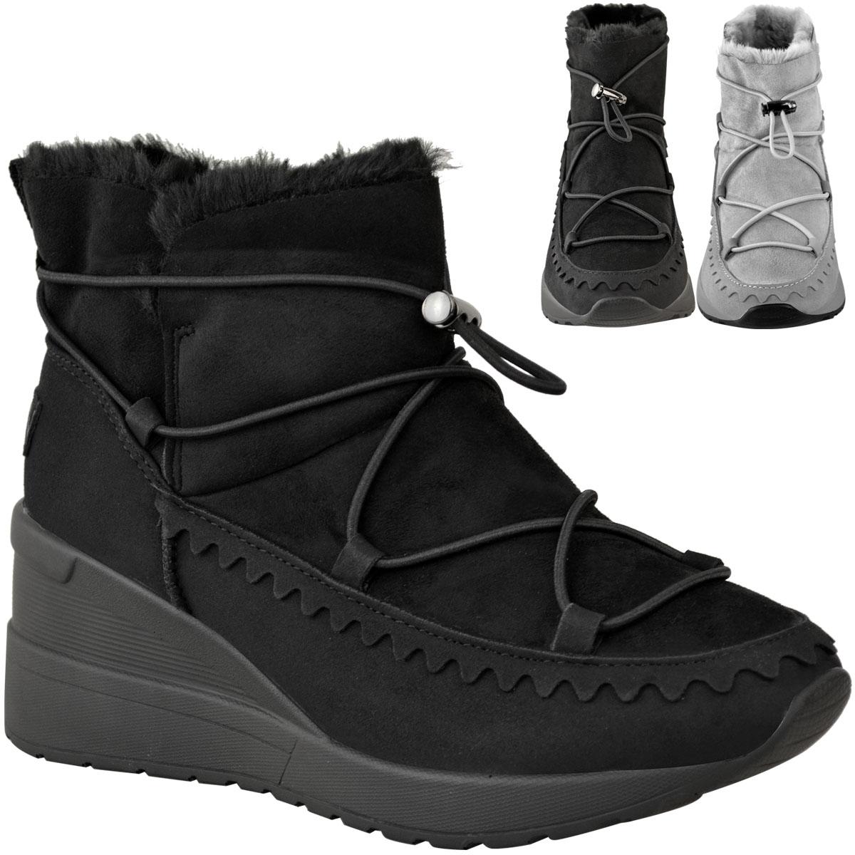 Womens Winter Faux Fur Fleece Ankle Boots Low Wedge Heel Size