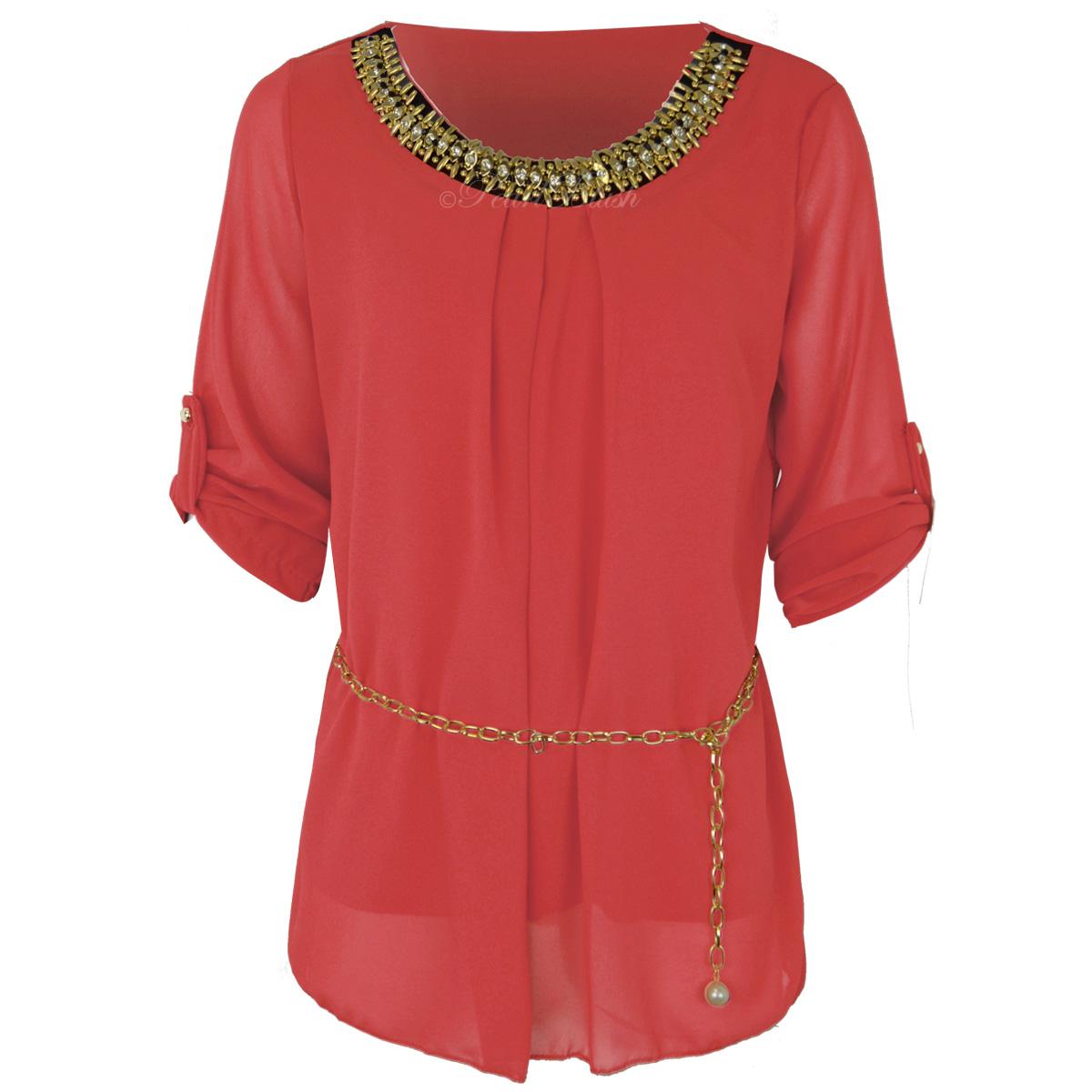 ladies womens loose shirt casual chiffon 34 sleeve