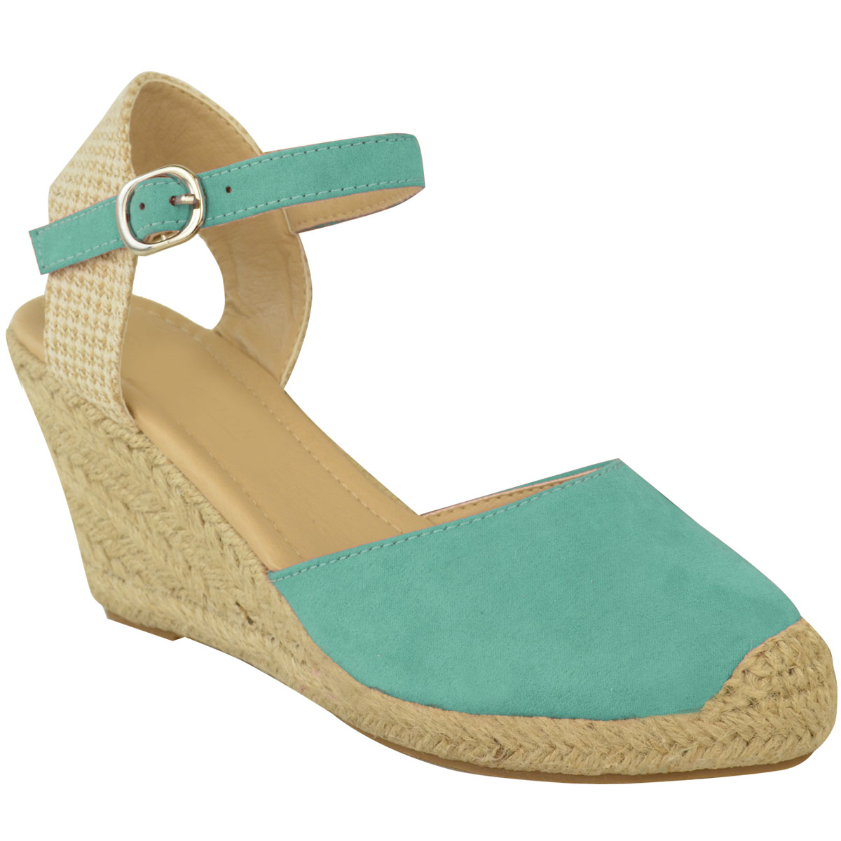New Womens Ladies Espadrille Summer Wedge Sandals Mid High ...