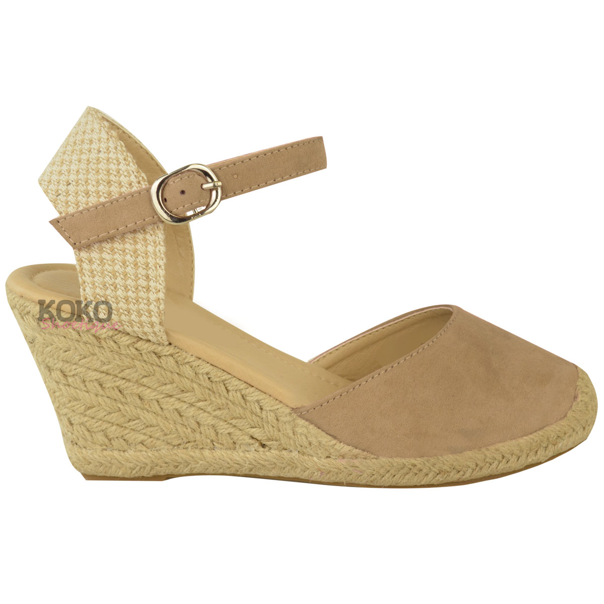 New Womens Ladies Summer Espadrilles Strappy Low Wedges ...