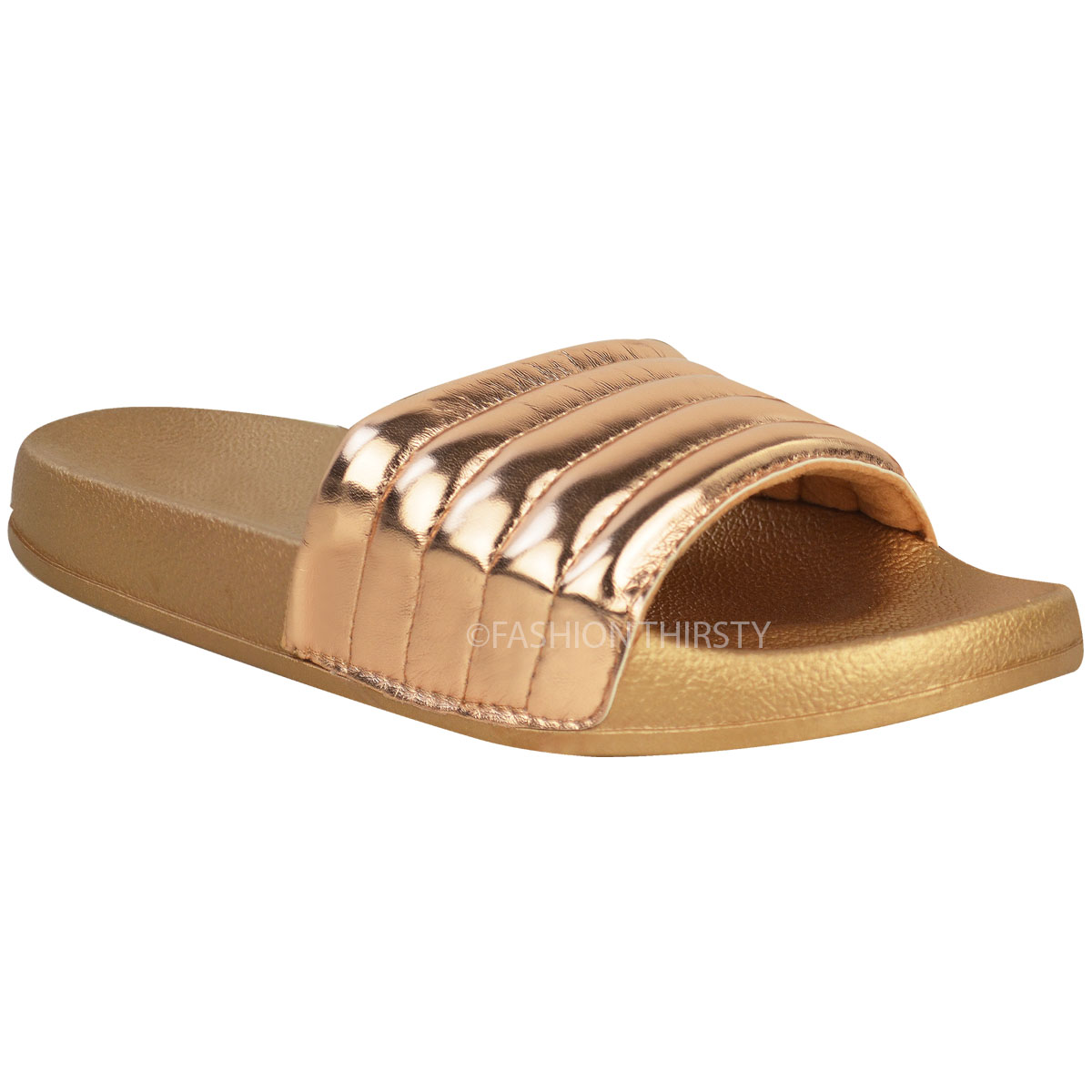 Womens Ladies Comfy Shiny Quilted Rubber Sliders Flats ...