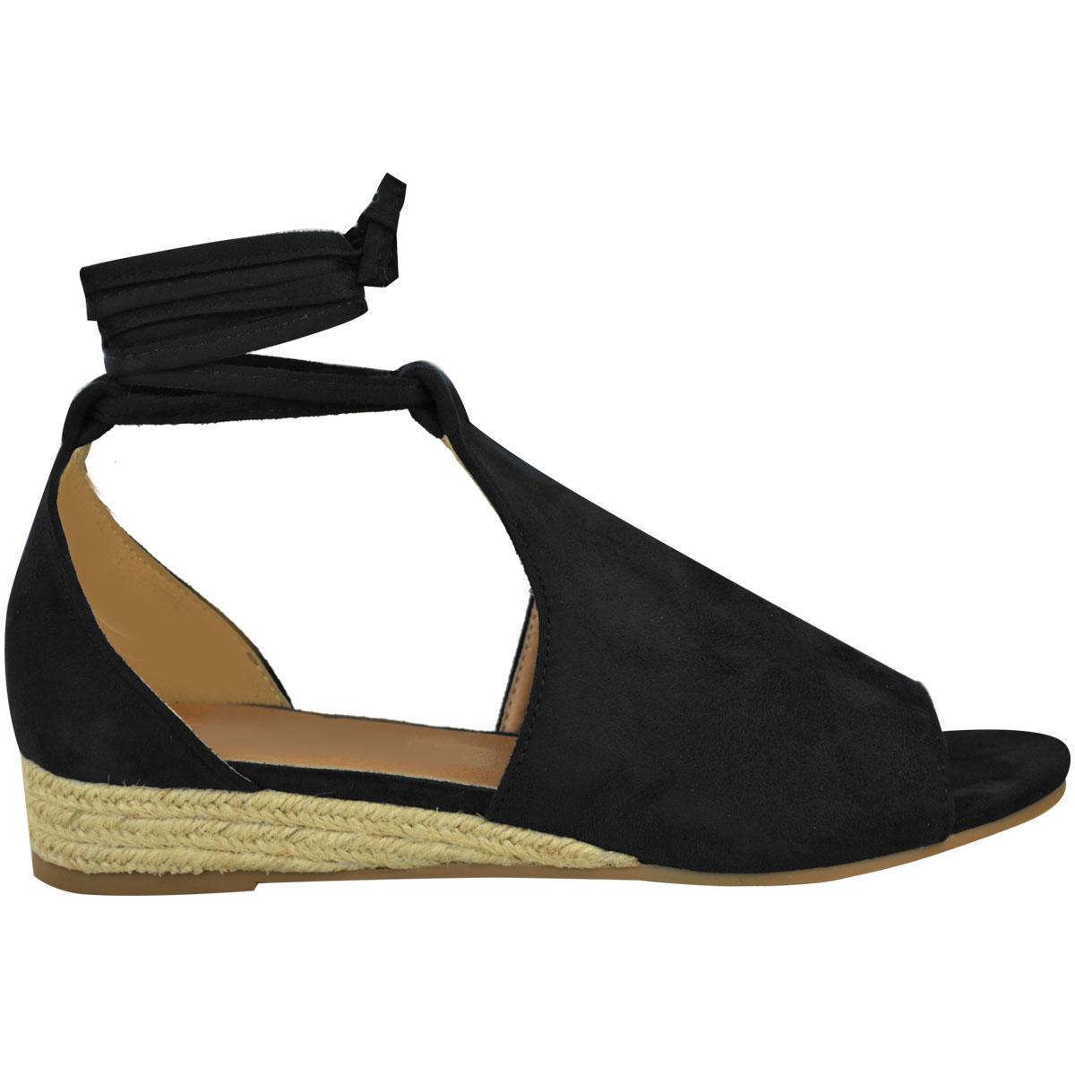 Ladies Womens Wedges Espadrilles Lace Tie Up Low Heel Comfy Sandals Shoes Size