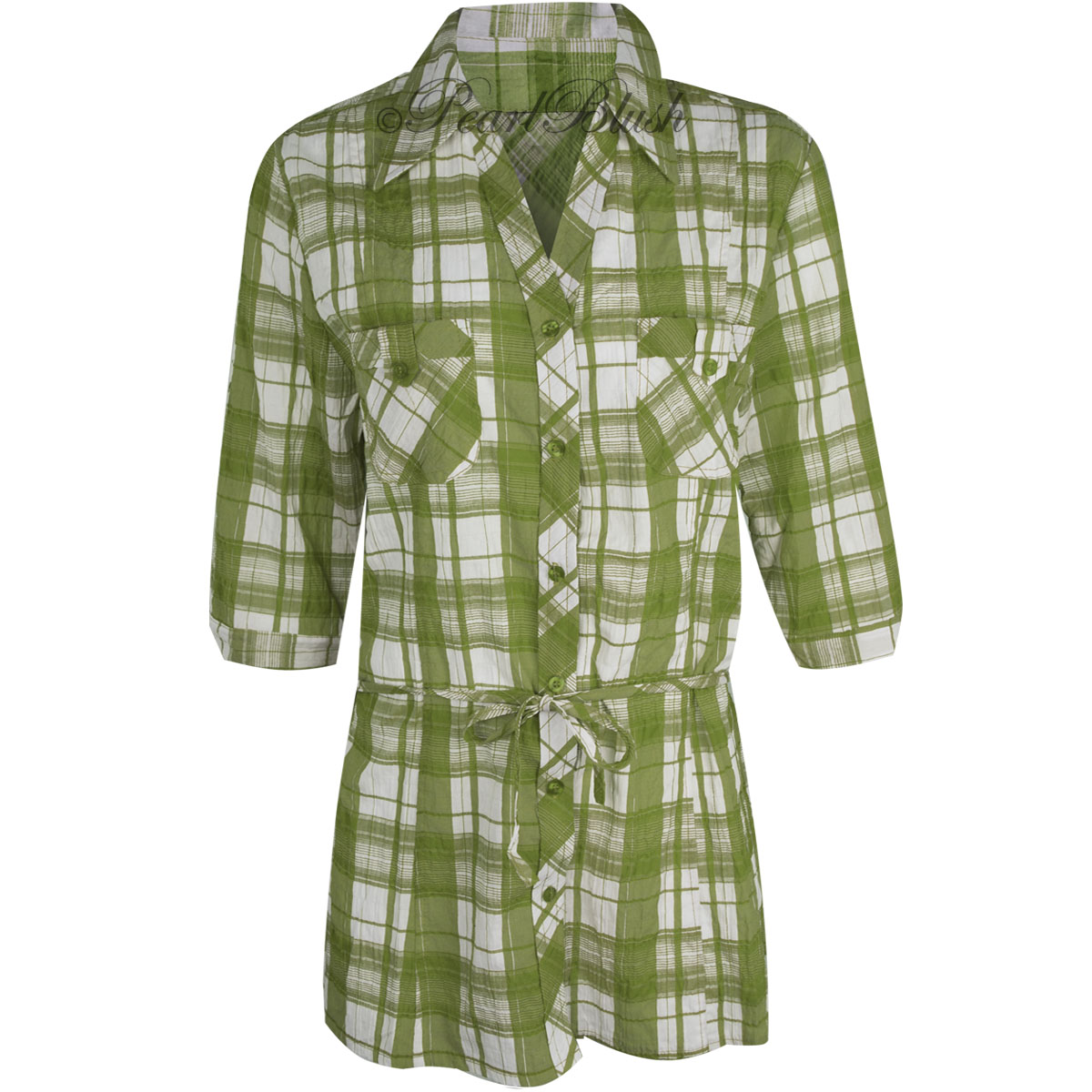 Womens ladies plaid check shirt 3 4 sleeve flannel button for Womens patterned button down shirts