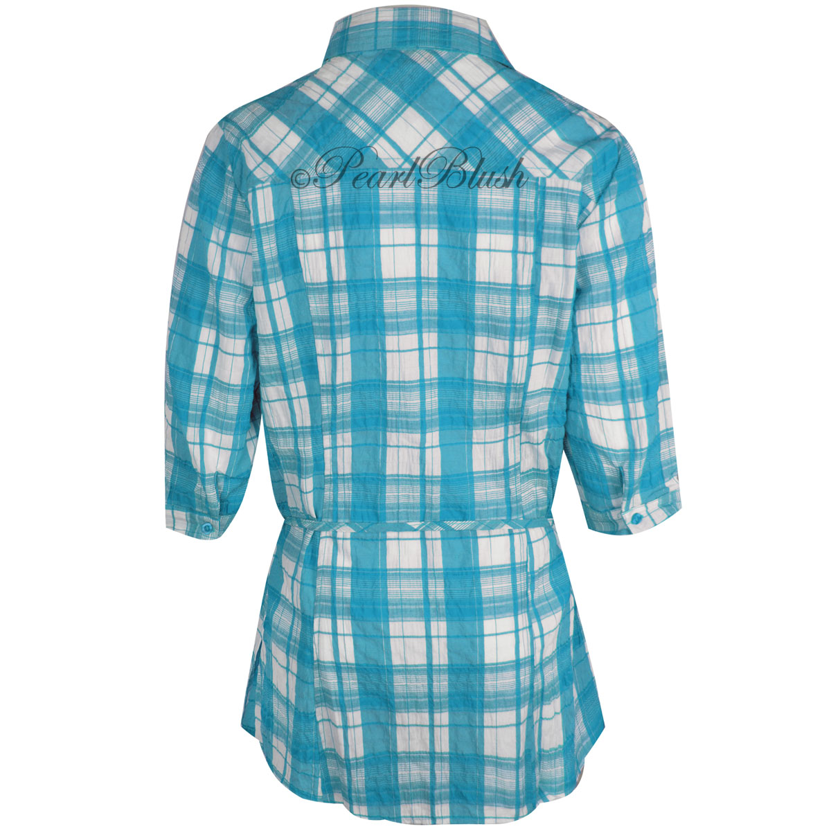 Womens ladies plaid check shirt 3 4 sleeve flannel button for Plaid button down shirts for women