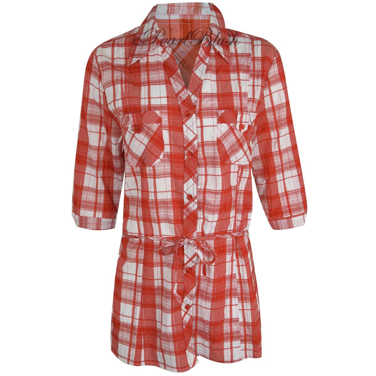 Womens Ladies Plaid Check Shirt 3/4 Sleeve Flannel Button
