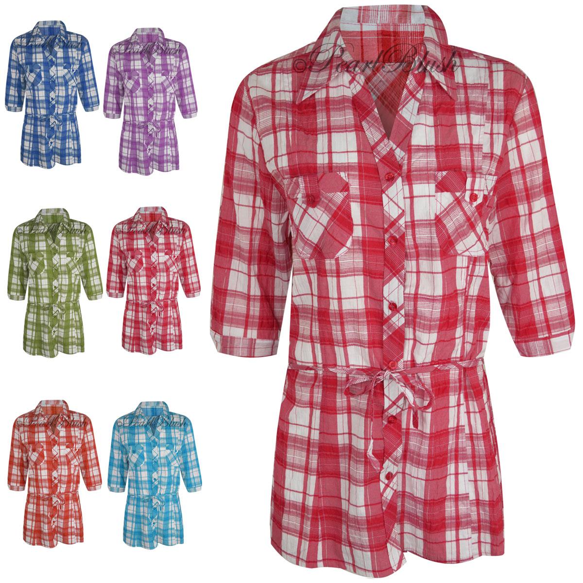 Womens ladies plaid check shirt 3 4 sleeve flannel button for Women s plaid button down shirts
