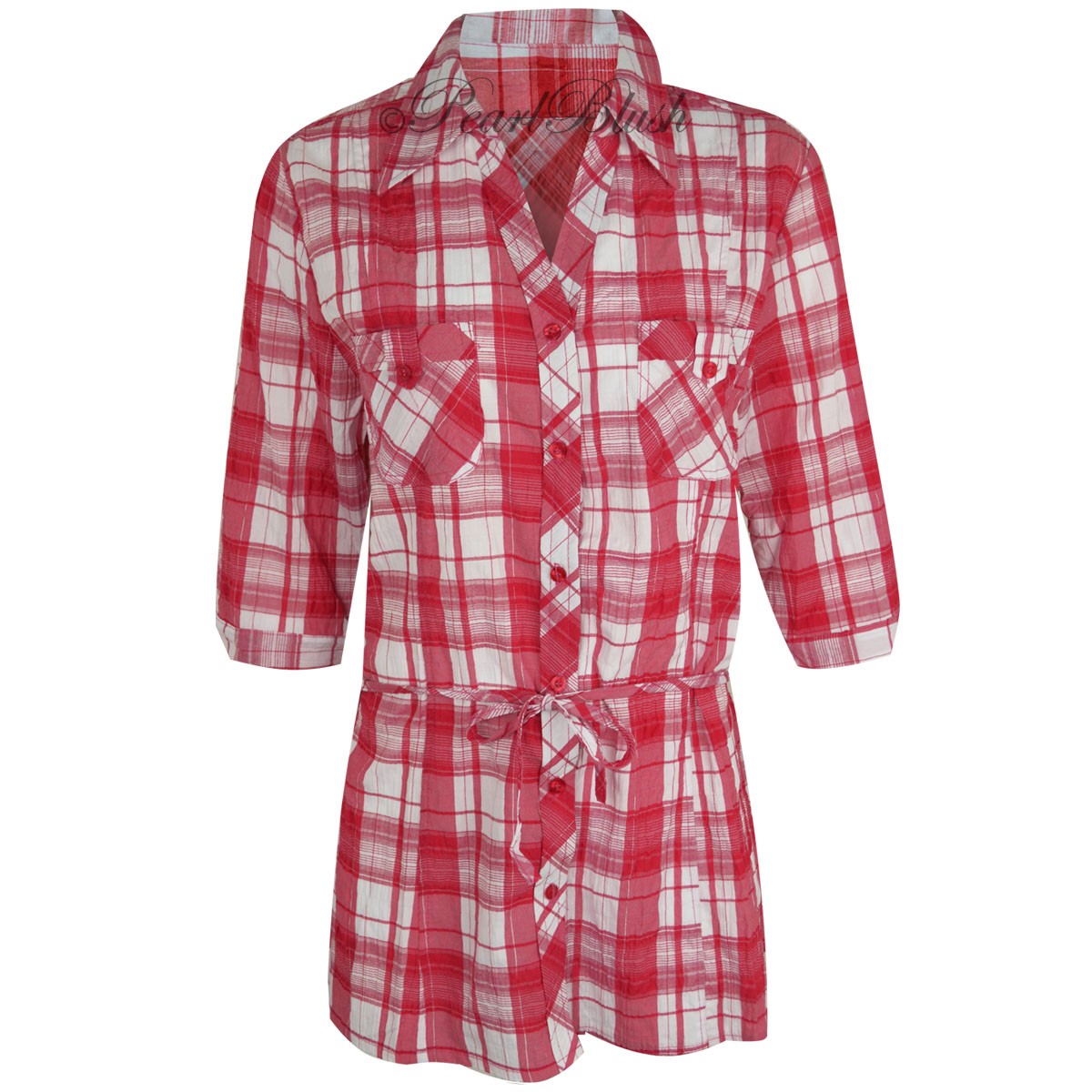 Womens Ladies Plaid Check Shirt 3 4 Sleeve Flannel Button