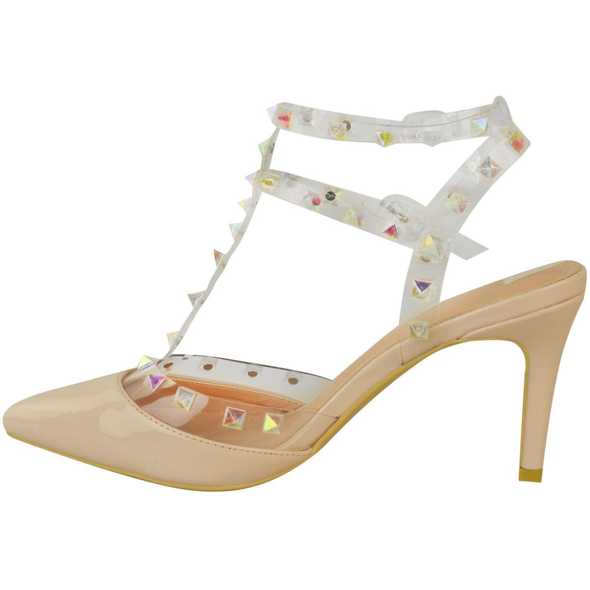 Low-Kitten-Heel-Party-Sandals-Stud-Perspex-Shoes-Wedding-Bridal-Prom-Womens-UK