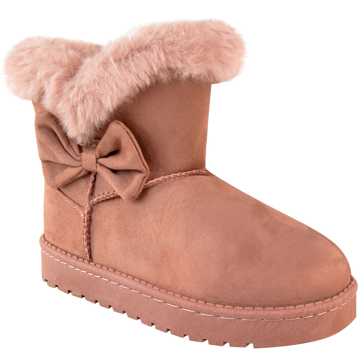 6e143e8696b63 Girls Kids Childrens Flat Winter Faux Fur Ankle Boots Warm Snow ...
