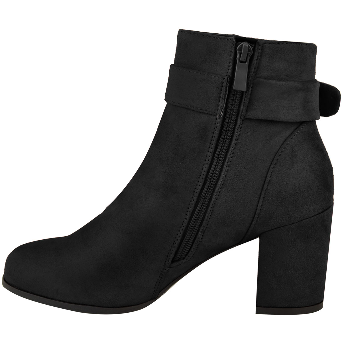 Womens Ladies Mid Block Heel Ankle Boots Chelsea Winter Casual Strap Buckle Size