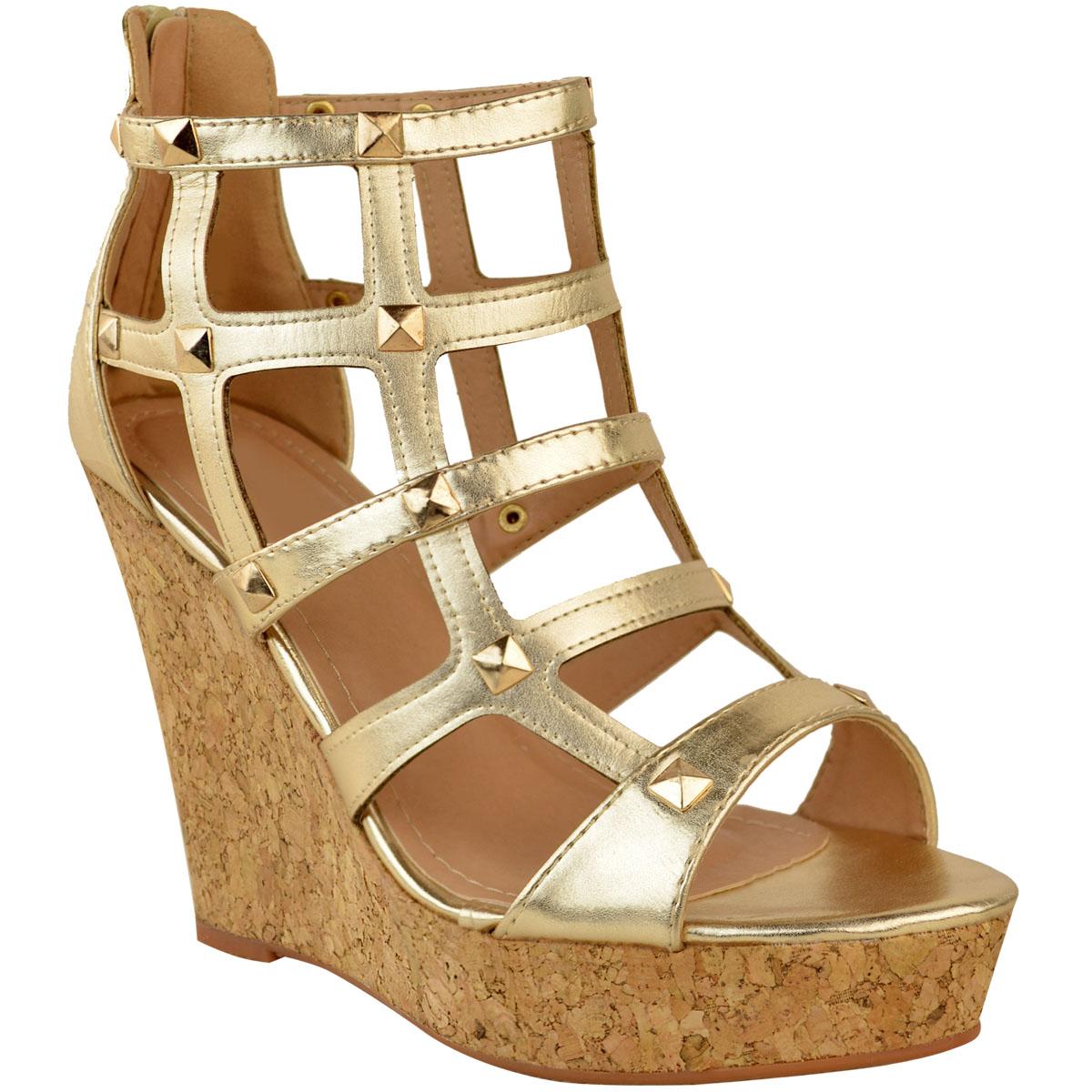 mirada detallada 8c217 cb6c2 Detalles acerca de Sandalias de mujer señoras Cuña Tacones Altos Con Jaula  De Verano Fiesta Gladiador Zapatos Talla- mostrar título original