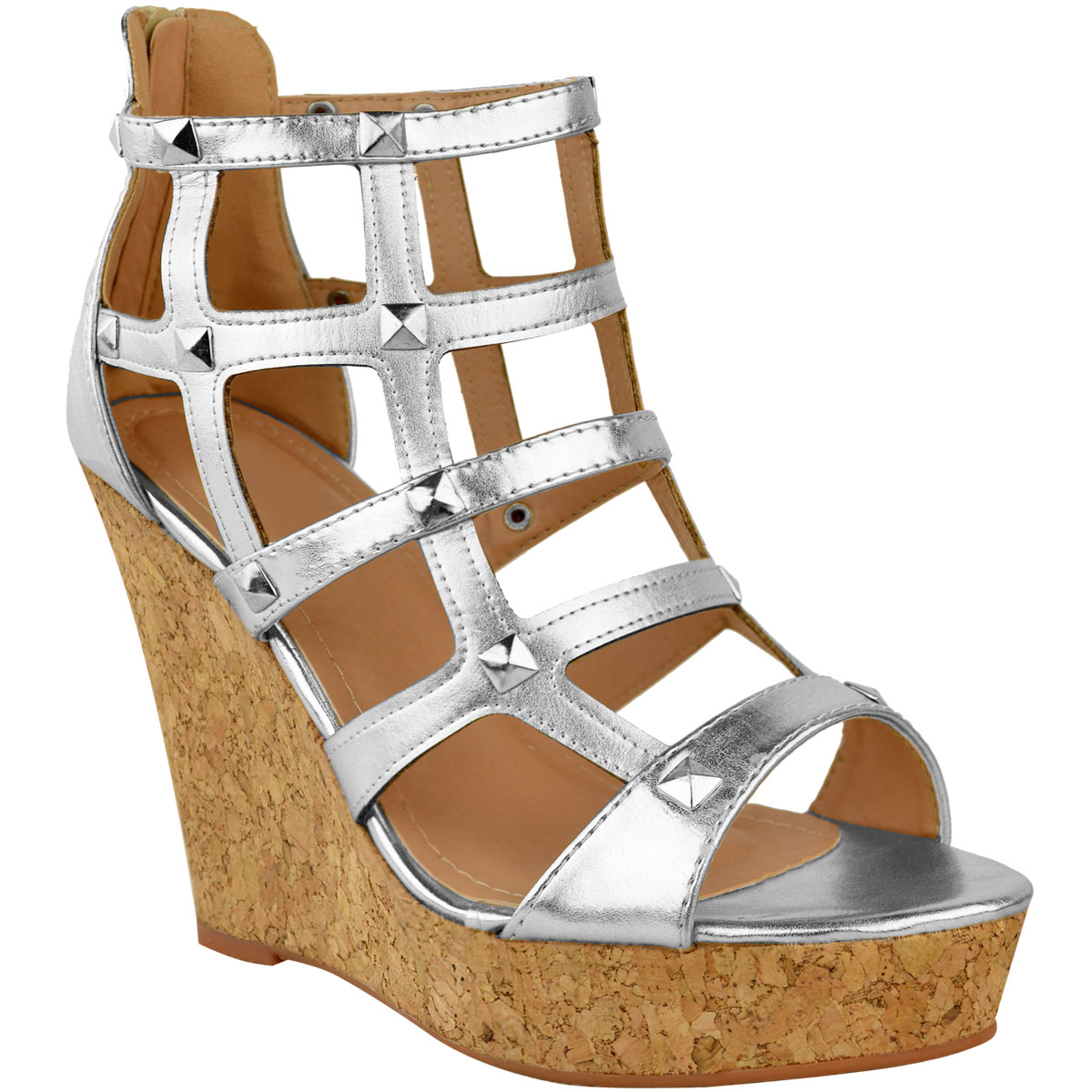 65812461cfc Womens Ladies Wedge Sandals High Heels Caged Summer Party Gladiator ...