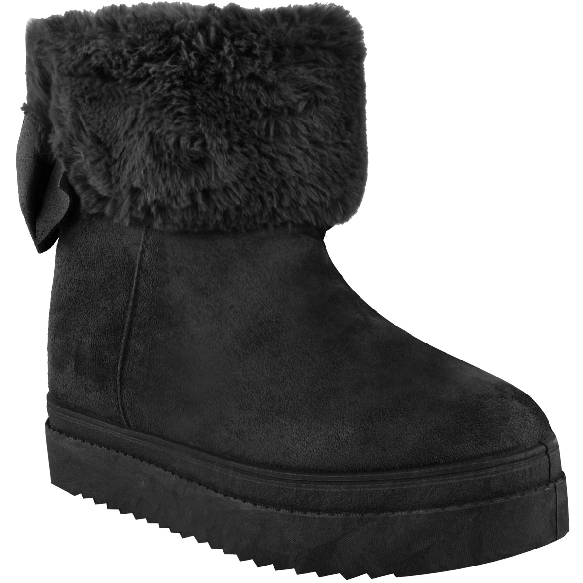 womens flat faux fur lining winter bow ankle boots