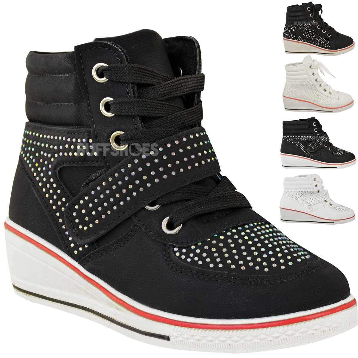 girls kids wedge trainers lace up pumps ankle boots