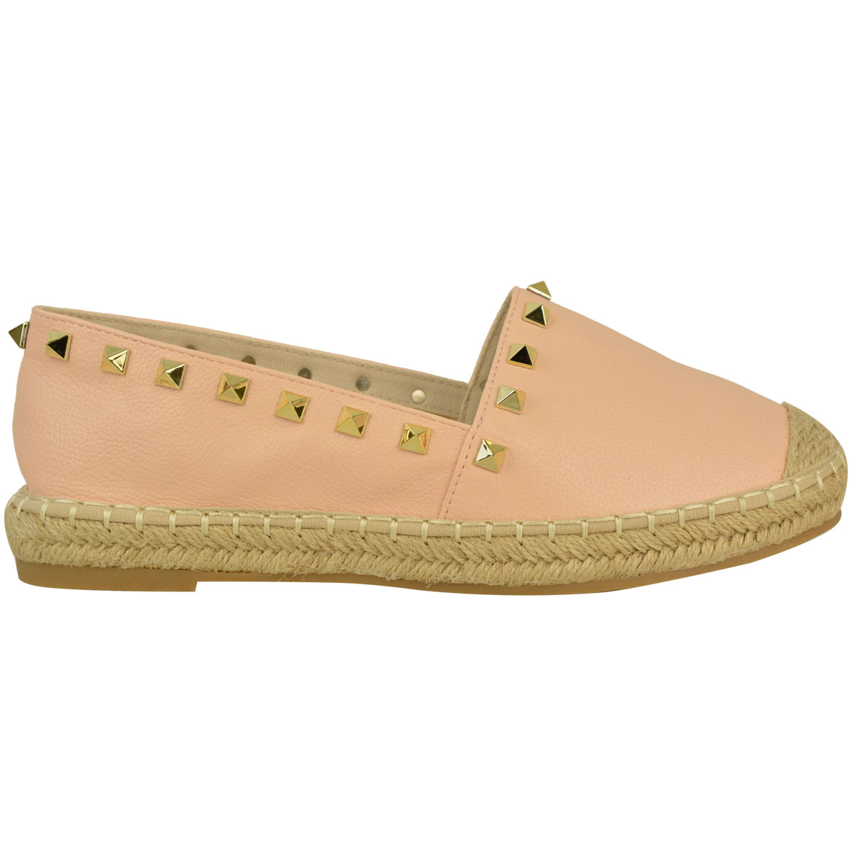Womens Ladies Studded Espadrilles Slip On Flats Summer ...