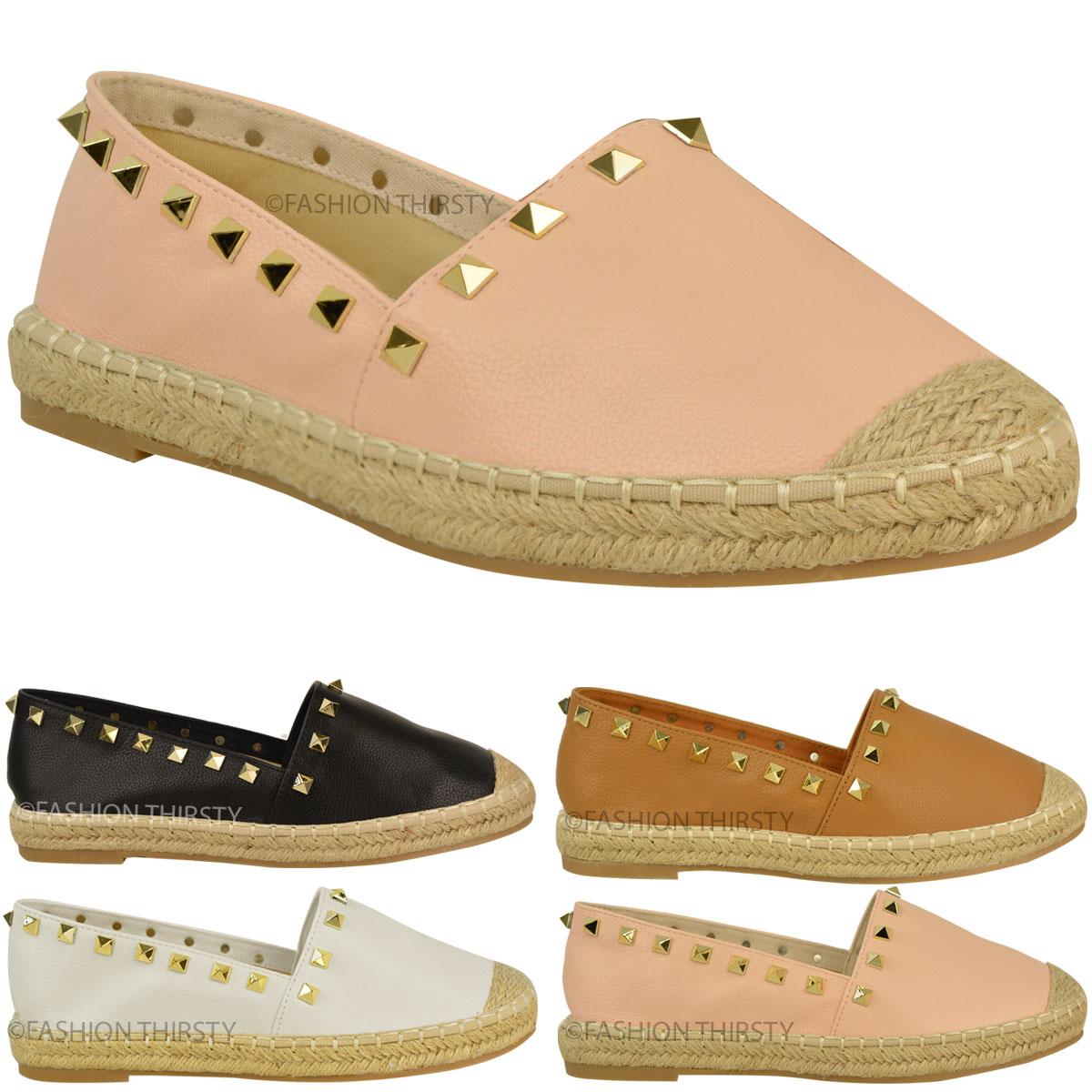 womens slip on flat espadrilles summer shoes stud