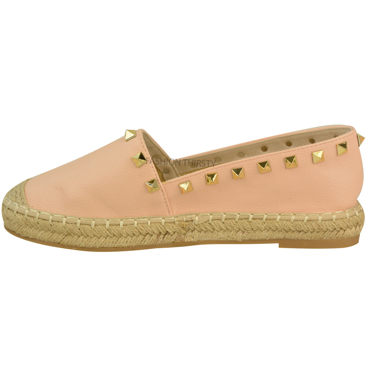 Womens Ladies Slip On Flat Espadrilles Summer Shoes Stud ...