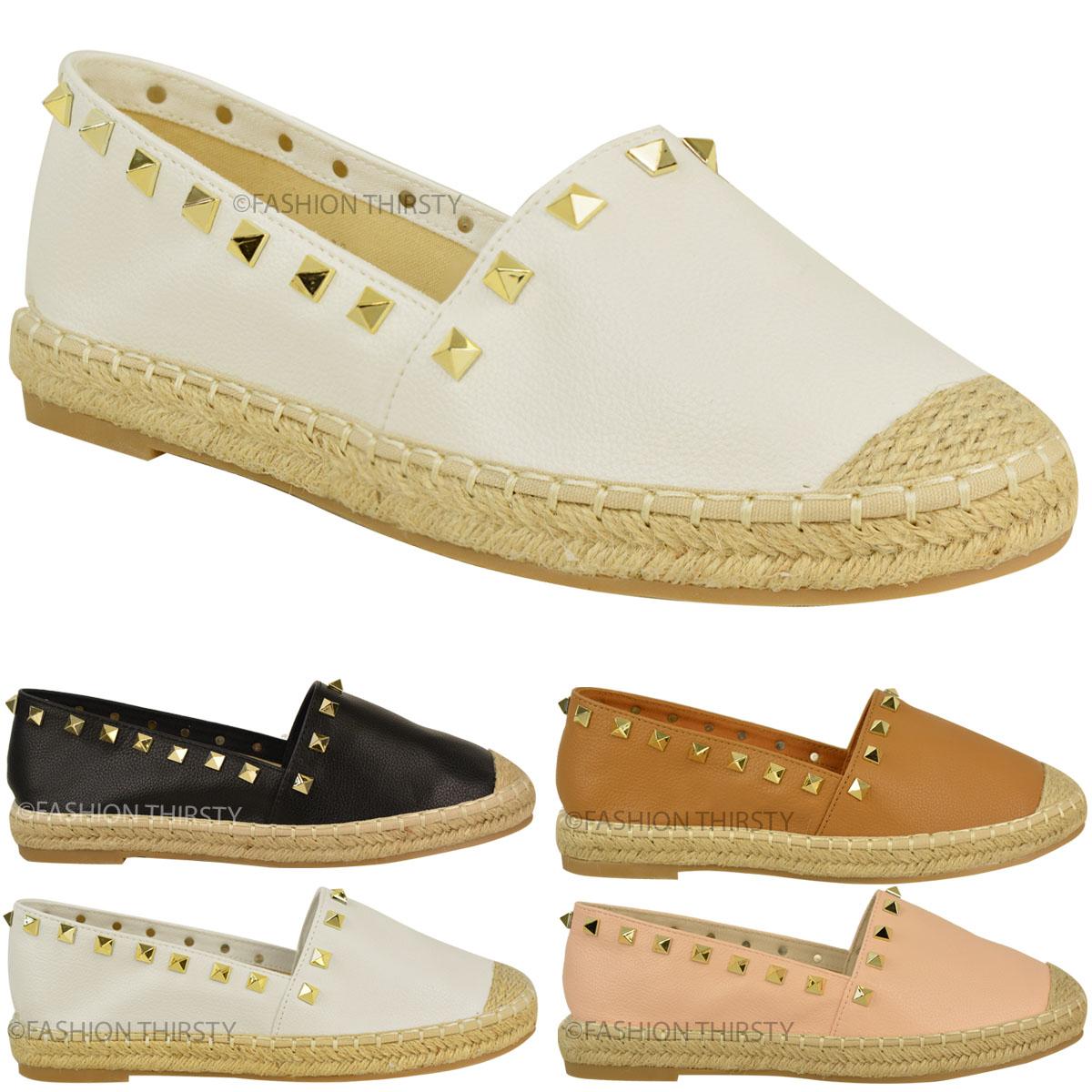 Womens Ladies Slip On Flat Espadrilles Summer Shoes Stud ...