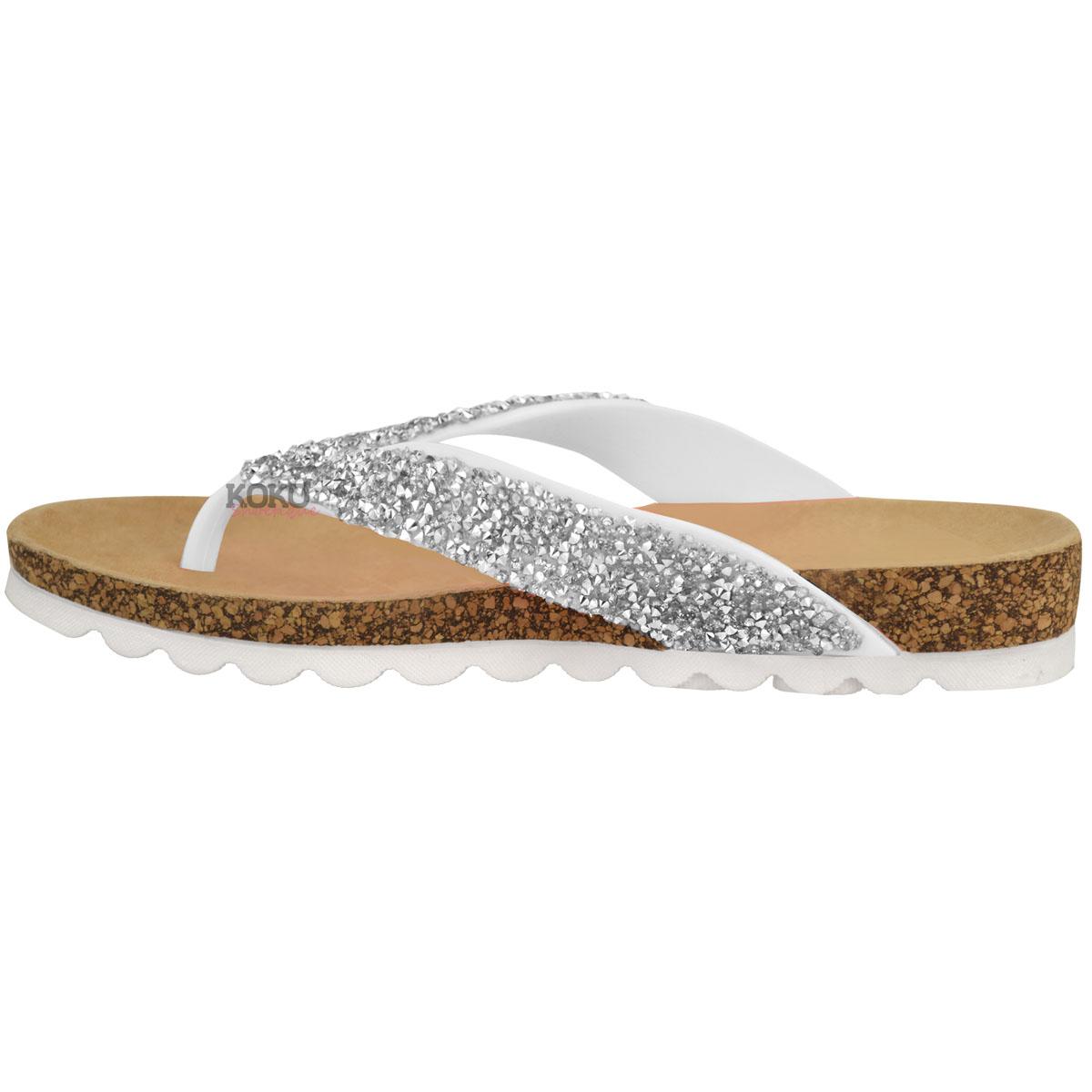 Damen Zehentrennersandalen - bequeme flache Sandalen mit gepolsterter Gel-Sohle - Weiß - EUR 36 LruADvDFF