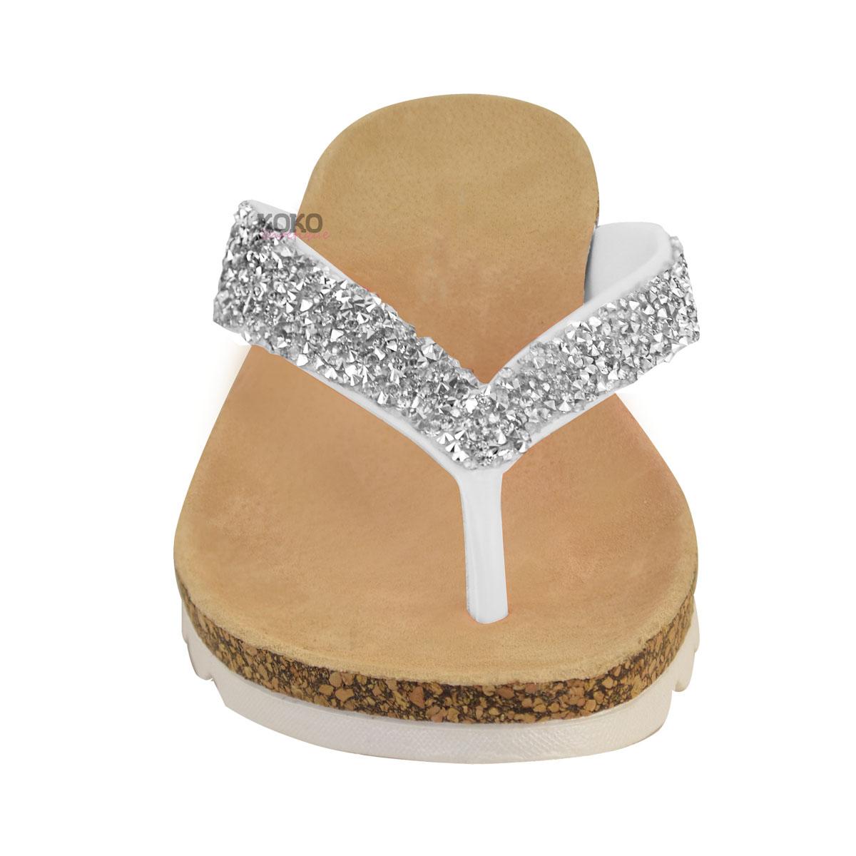 Damen Zehentrennersandalen - bequeme flache Sandalen mit gepolsterter Gel-Sohle - Schwarz Glitzer - EUR 38 QNiVh4yXKu