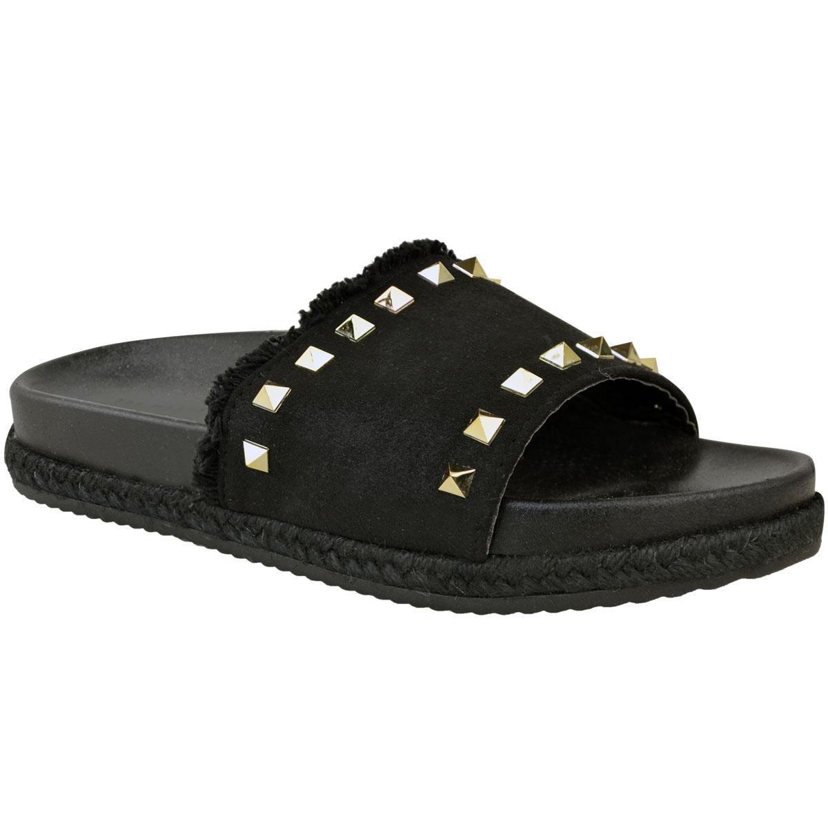 2d3114b9bd7bdf Womens Ladies Flat Slip On Studded Slides Designer Slippers Sliders ...