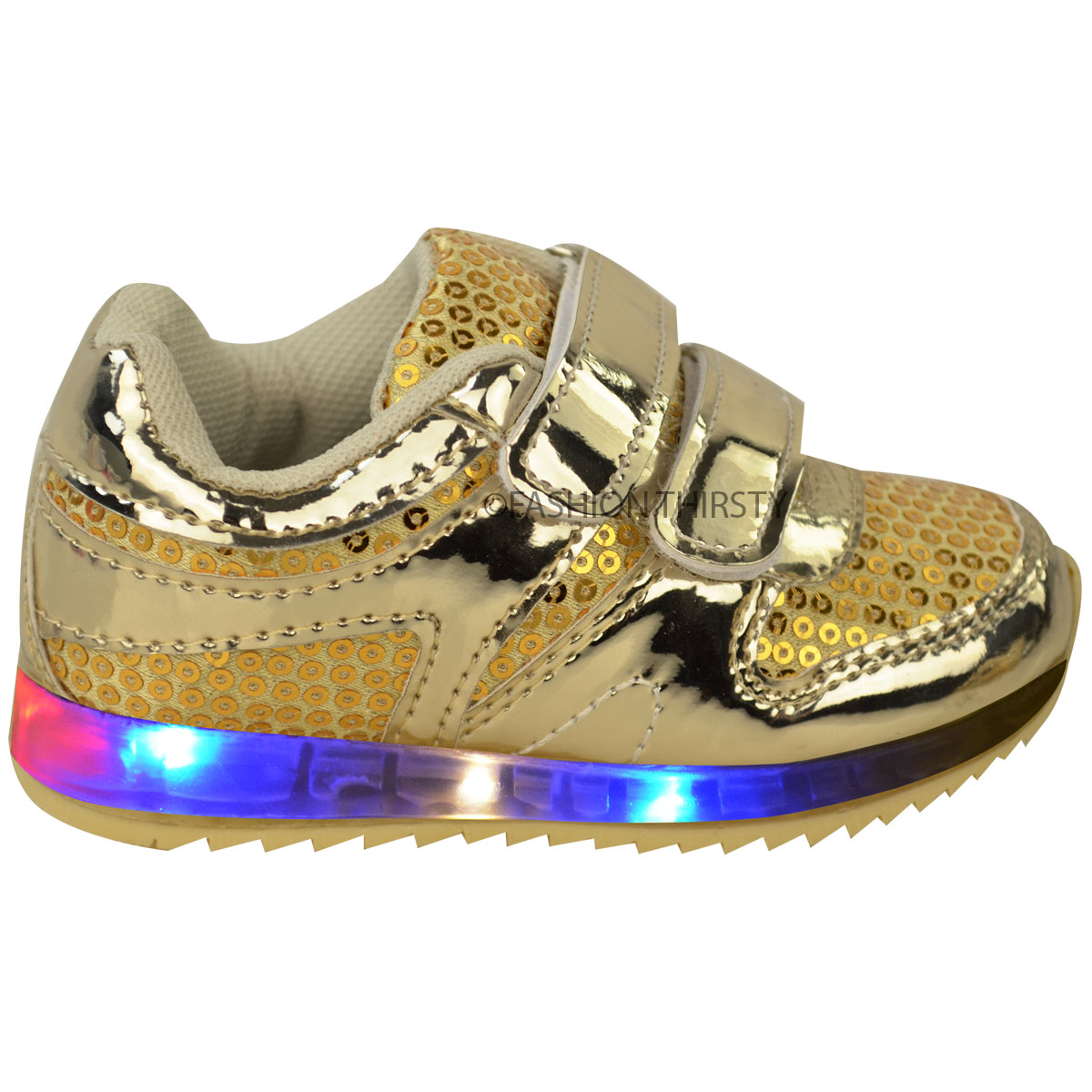 2c9231110b52 New Girls Kids Babies LED Light Up Trainers Strappy Sneakers Toddler ...