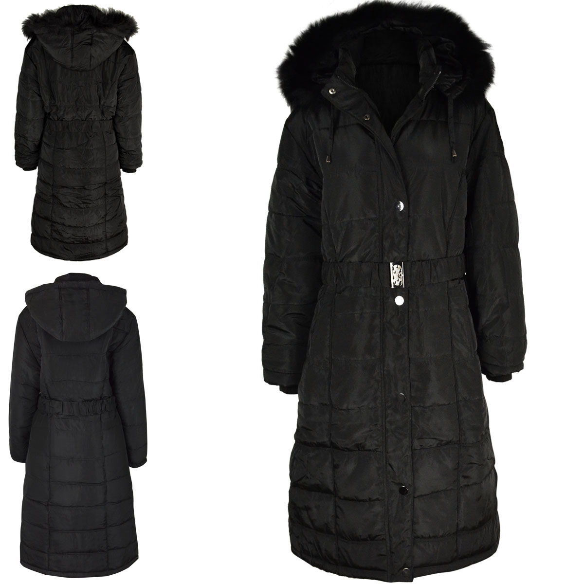 Womens Ladies Long Winter Coat Padded Quilted Puffa Jacket