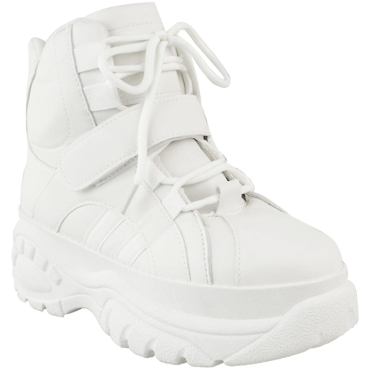 Womens-Ladies-High-Platform-Trainers-Sneakers-Retro-Boots-Hi-Top-Wedge-Punk-Goth thumbnail 8