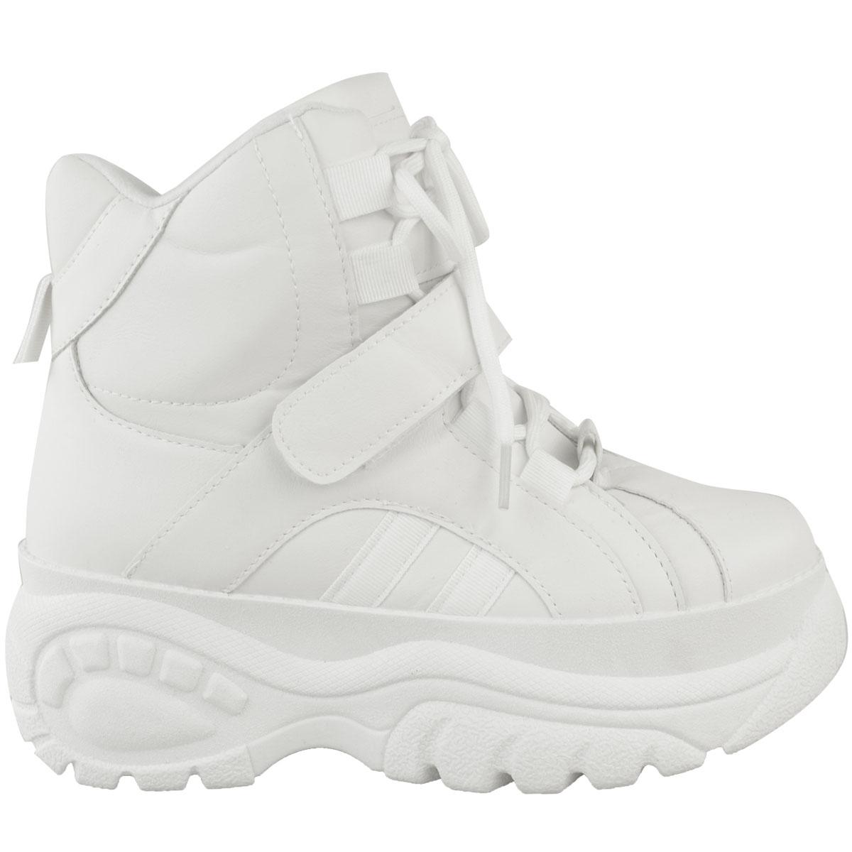Womens-Ladies-High-Platform-Trainers-Sneakers-Retro-Boots-Hi-Top-Wedge-Punk-Goth thumbnail 9