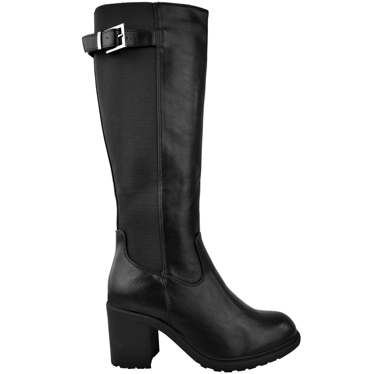 Womens-Ladies-Calf-High-Boots-Riding-Stretch-Wide-Leg-Low-Block-Heel-Winter-Size thumbnail 4