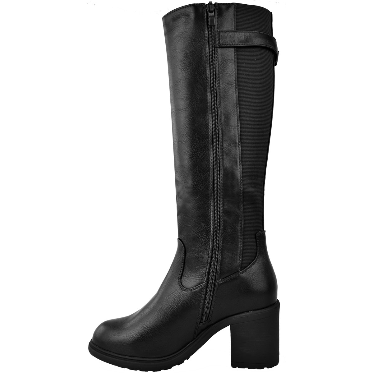 Womens-Ladies-Calf-High-Boots-Riding-Stretch-Wide-Leg-Low-Block-Heel-Winter-Size thumbnail 5