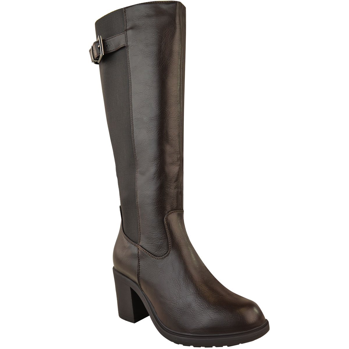 Womens-Ladies-Calf-High-Boots-Riding-Stretch-Wide-Leg-Low-Block-Heel-Winter-Size thumbnail 8