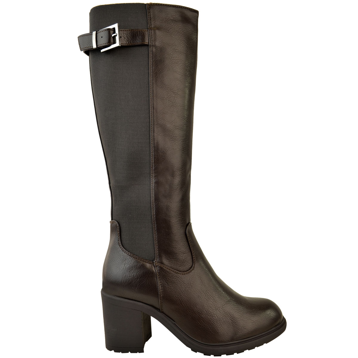 Womens-Ladies-Calf-High-Boots-Riding-Stretch-Wide-Leg-Low-Block-Heel-Winter-Size thumbnail 9